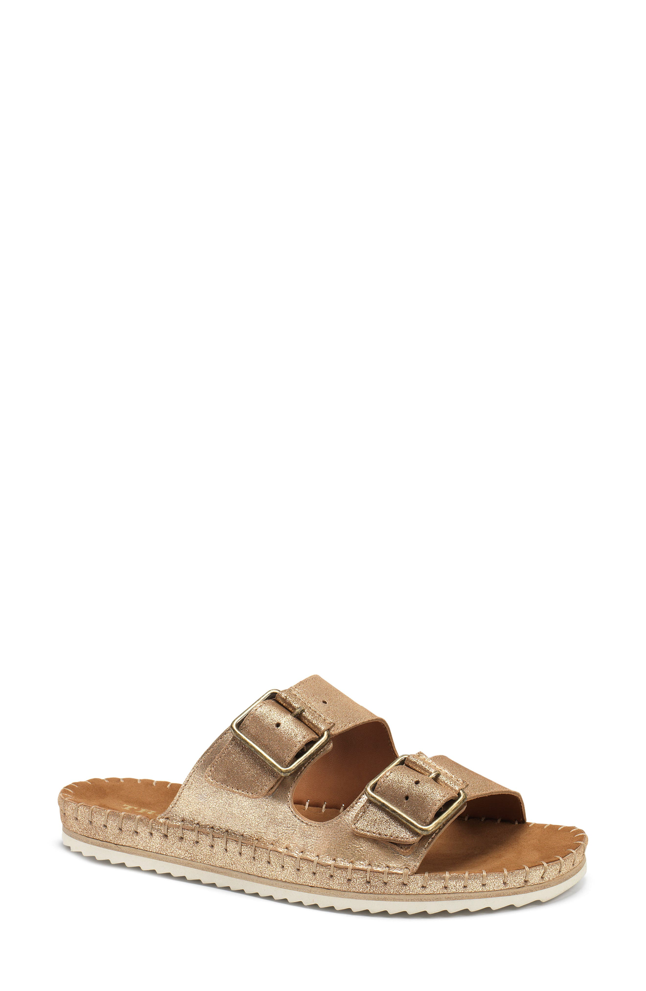 Carli Slide Sandal,                         Main,                         color, GOLD METALLIC SUEDE