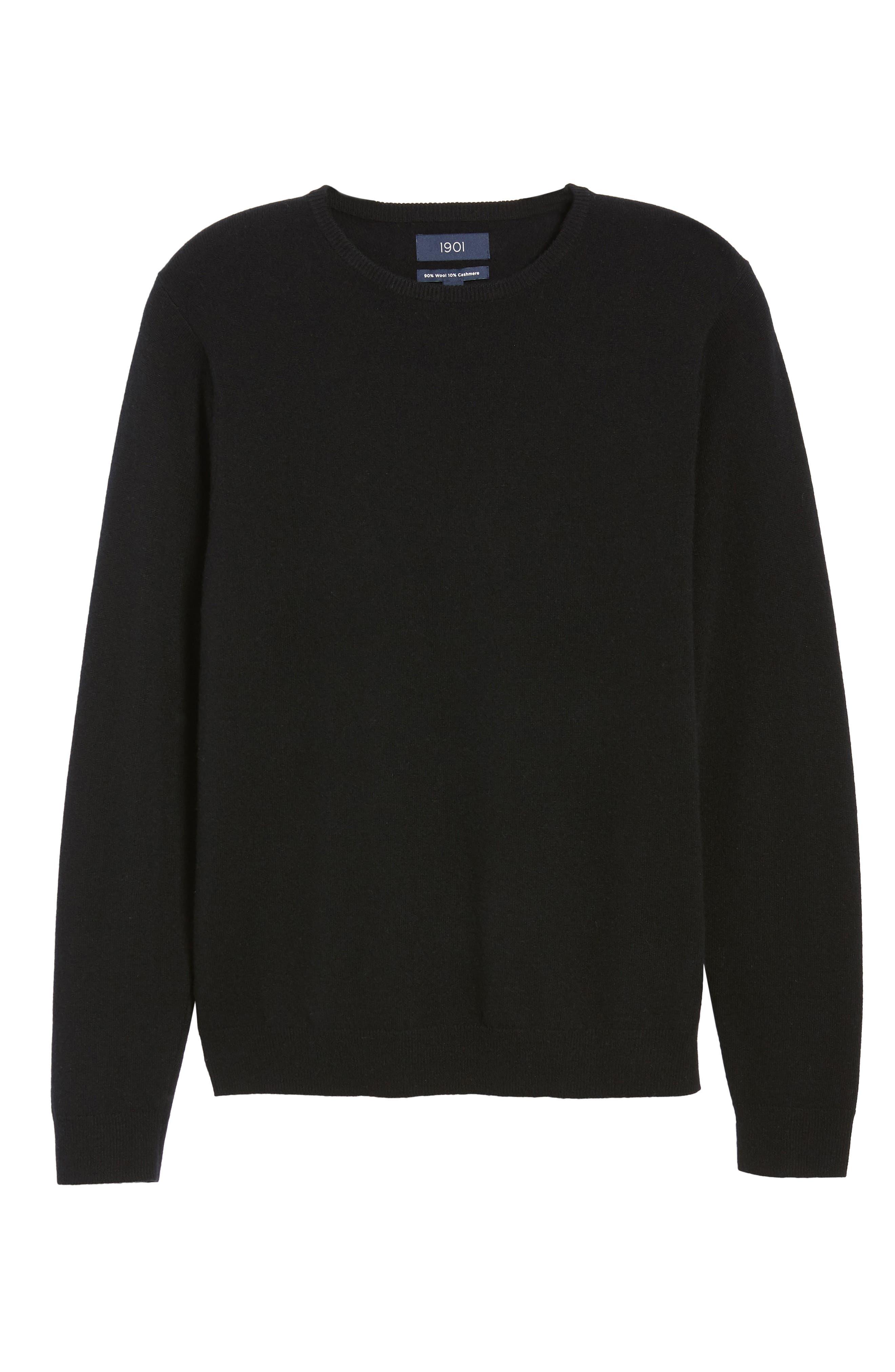 Regular Fit Wool & Cashmere Sweater,                             Alternate thumbnail 6, color,                             BLACK CAVIAR