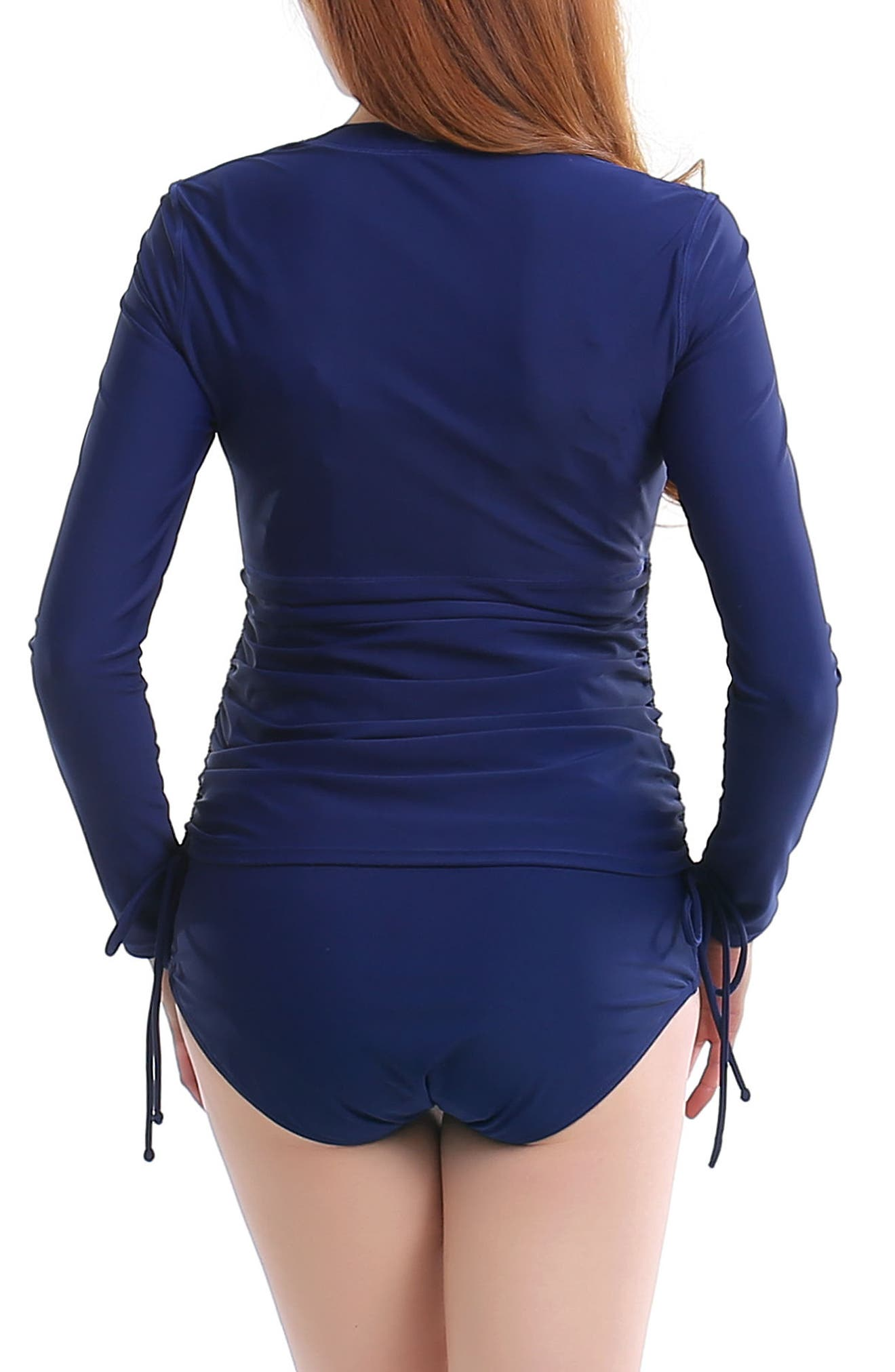 Maternity Rashguard Swimsuit,                             Alternate thumbnail 2, color,                             NAVY