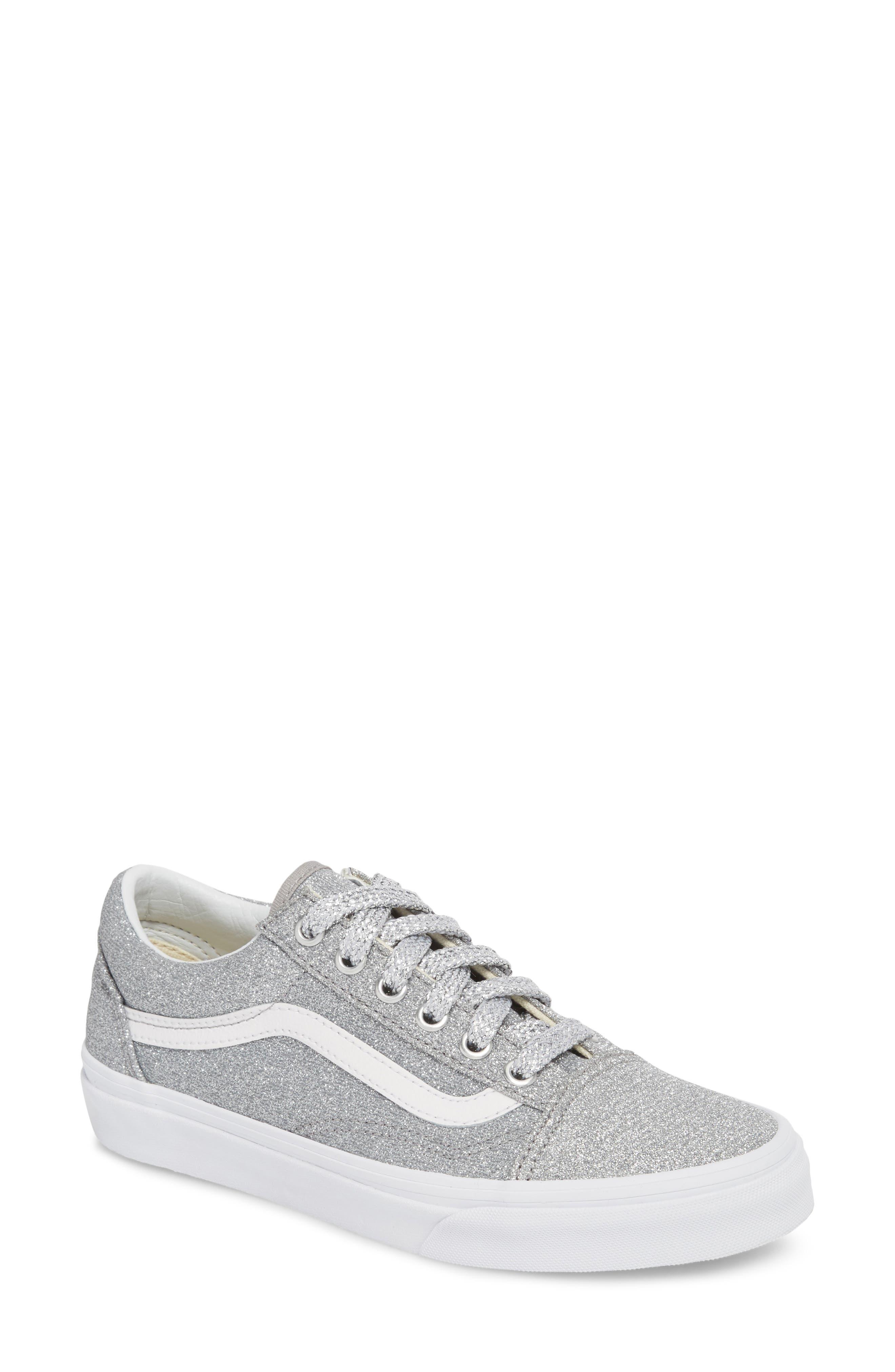 UA Old Skool Glitter Low Top Sneaker,                         Main,                         color, SILVER/ TRUE WHITE GLITTER