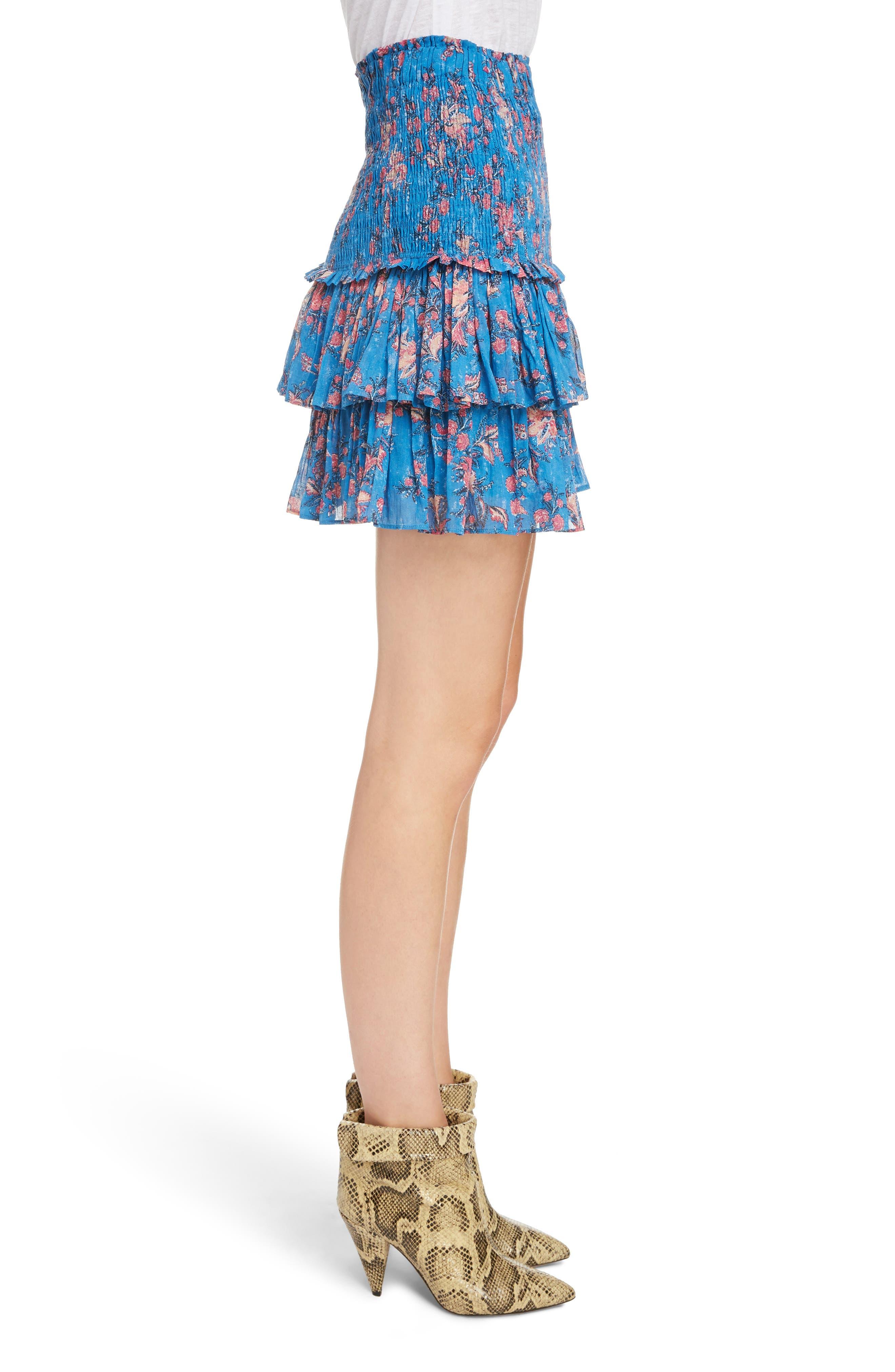 Naomi Shirred Miniskirt,                             Alternate thumbnail 3, color,                             BLUE