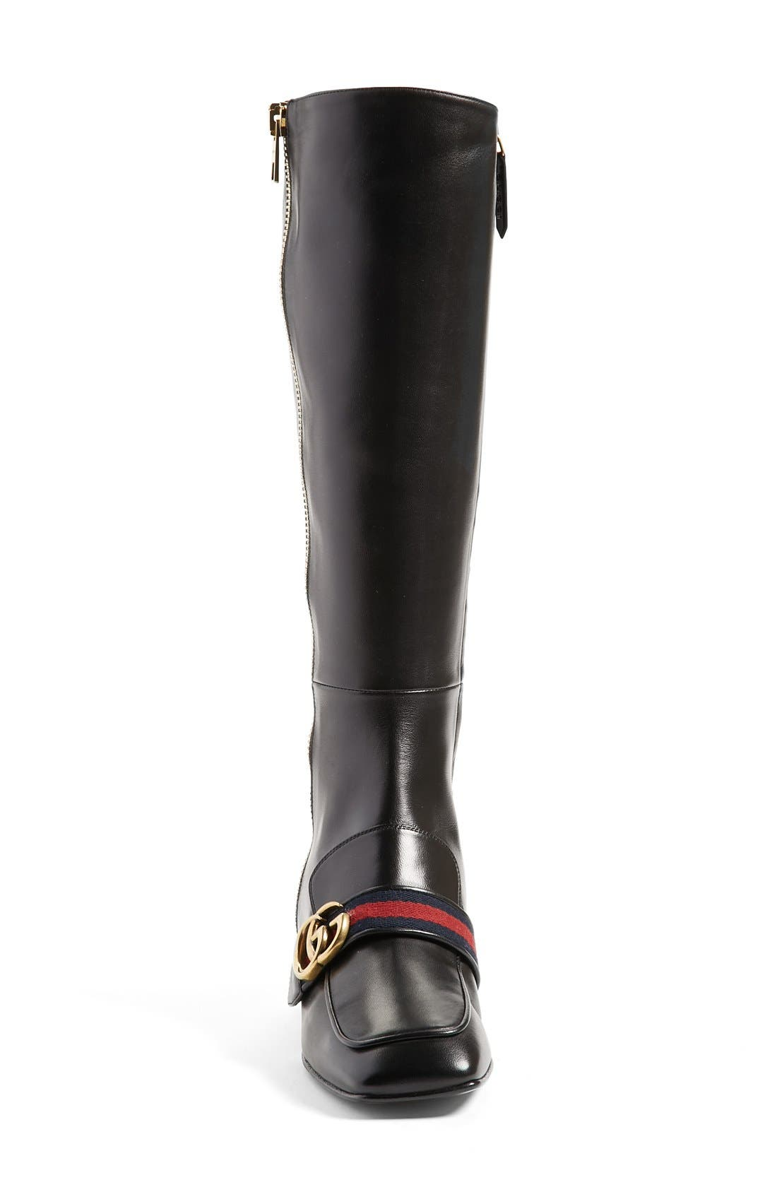 Embellished Riding Boot,                             Alternate thumbnail 3, color,                             001