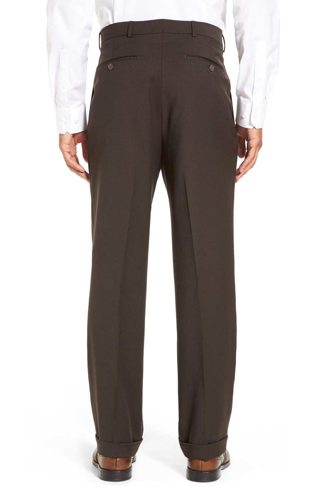 Pleated Solid Wool Trousers,                             Alternate thumbnail 20, color,