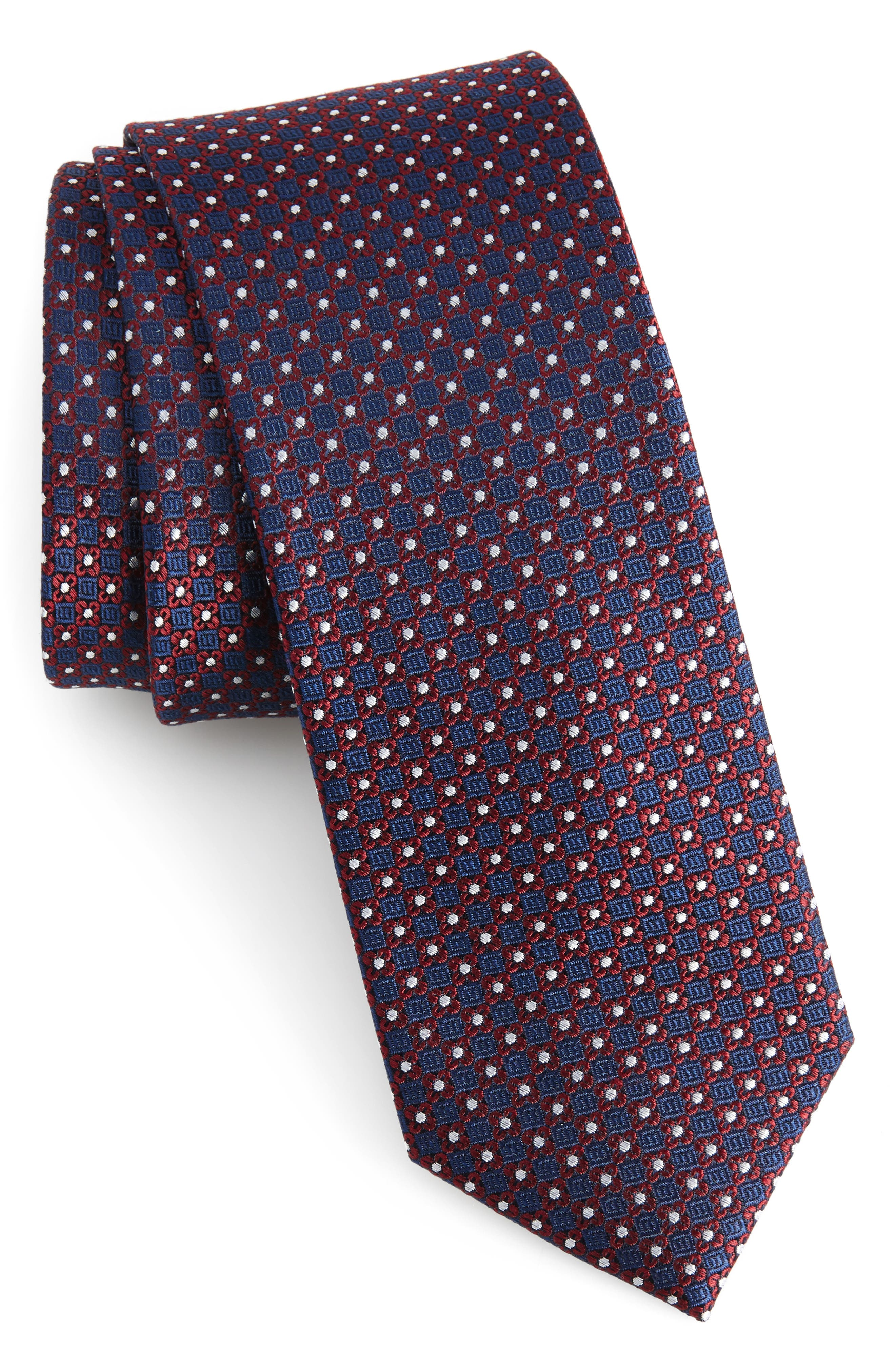 Floral Network Silk Skinny Tie,                         Main,                         color, 600