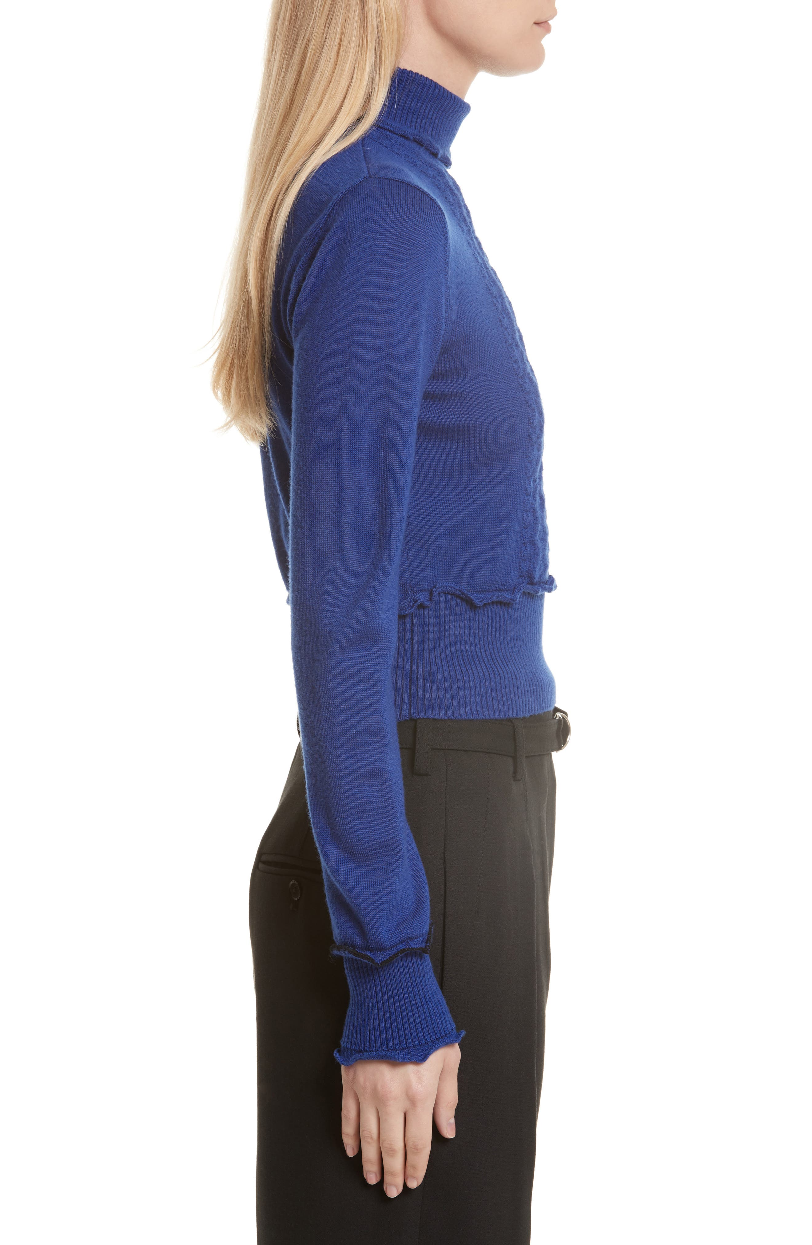 Puffy Cable Turtleneck Sweater,                             Alternate thumbnail 3, color,                             430