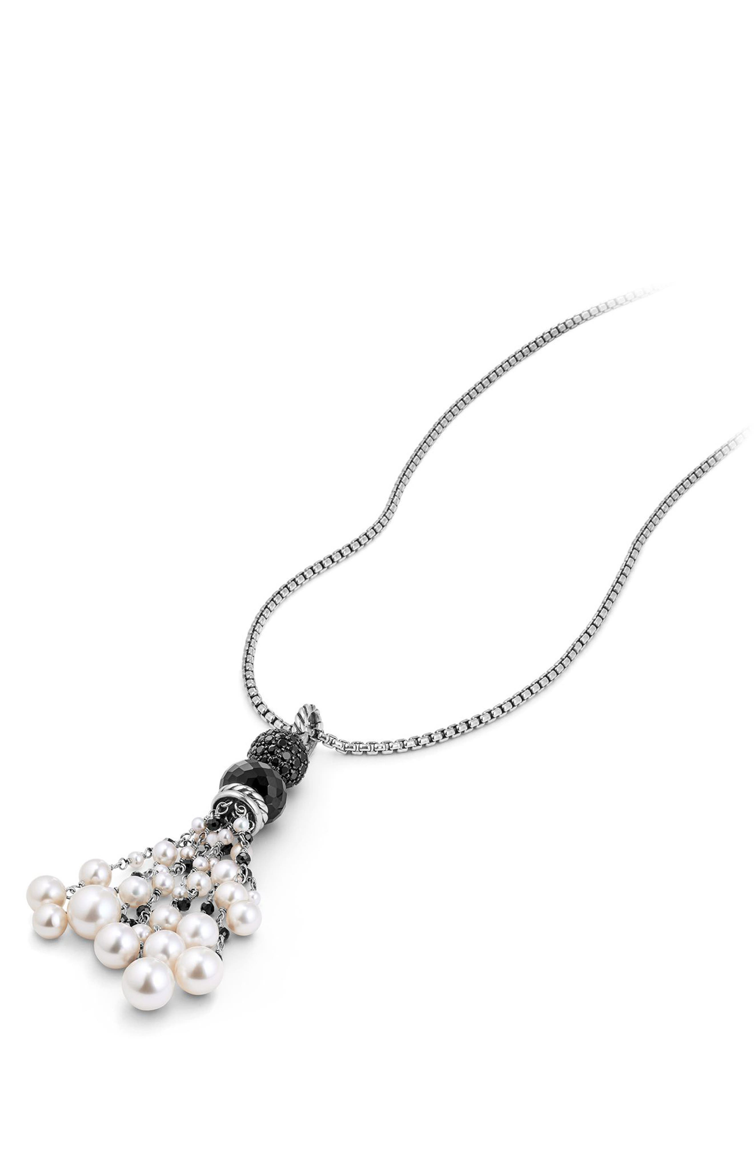 Oceanica Tassel Pendant with Black Onyx and Pearl,                             Alternate thumbnail 2, color,                             040