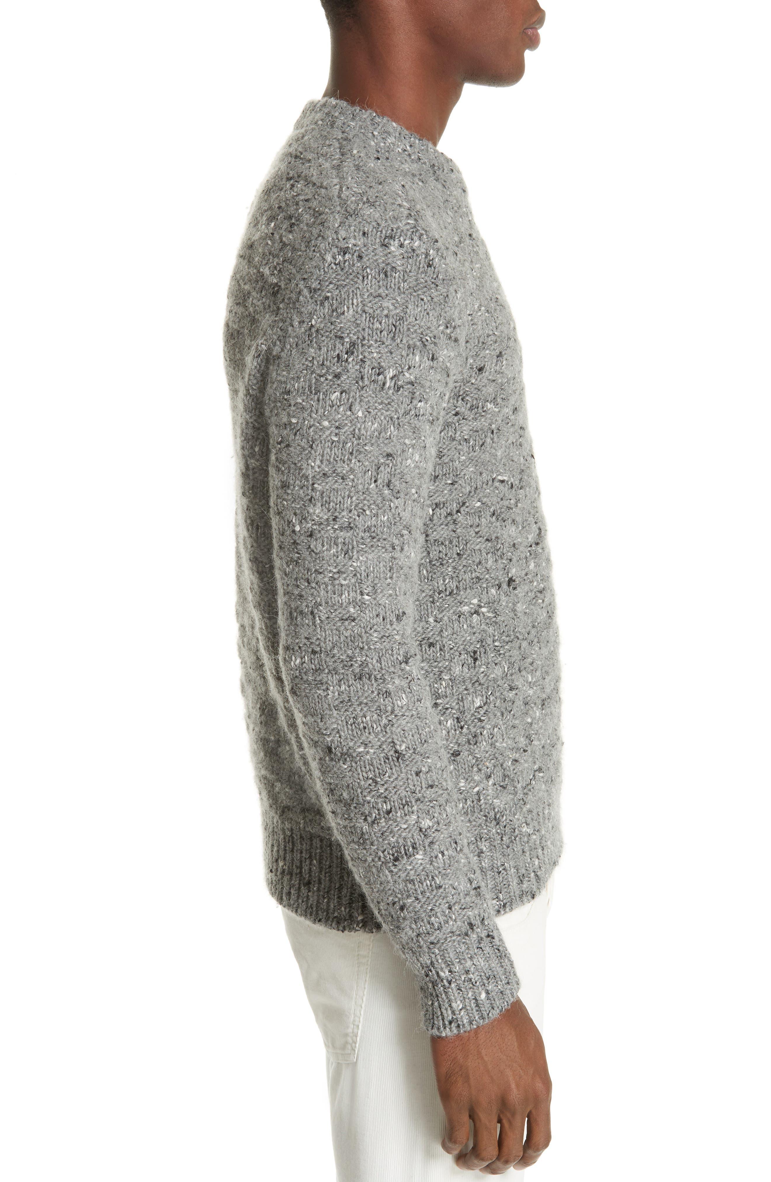 Wool Blend Crewneck Sweater,                             Alternate thumbnail 3, color,                             GREY