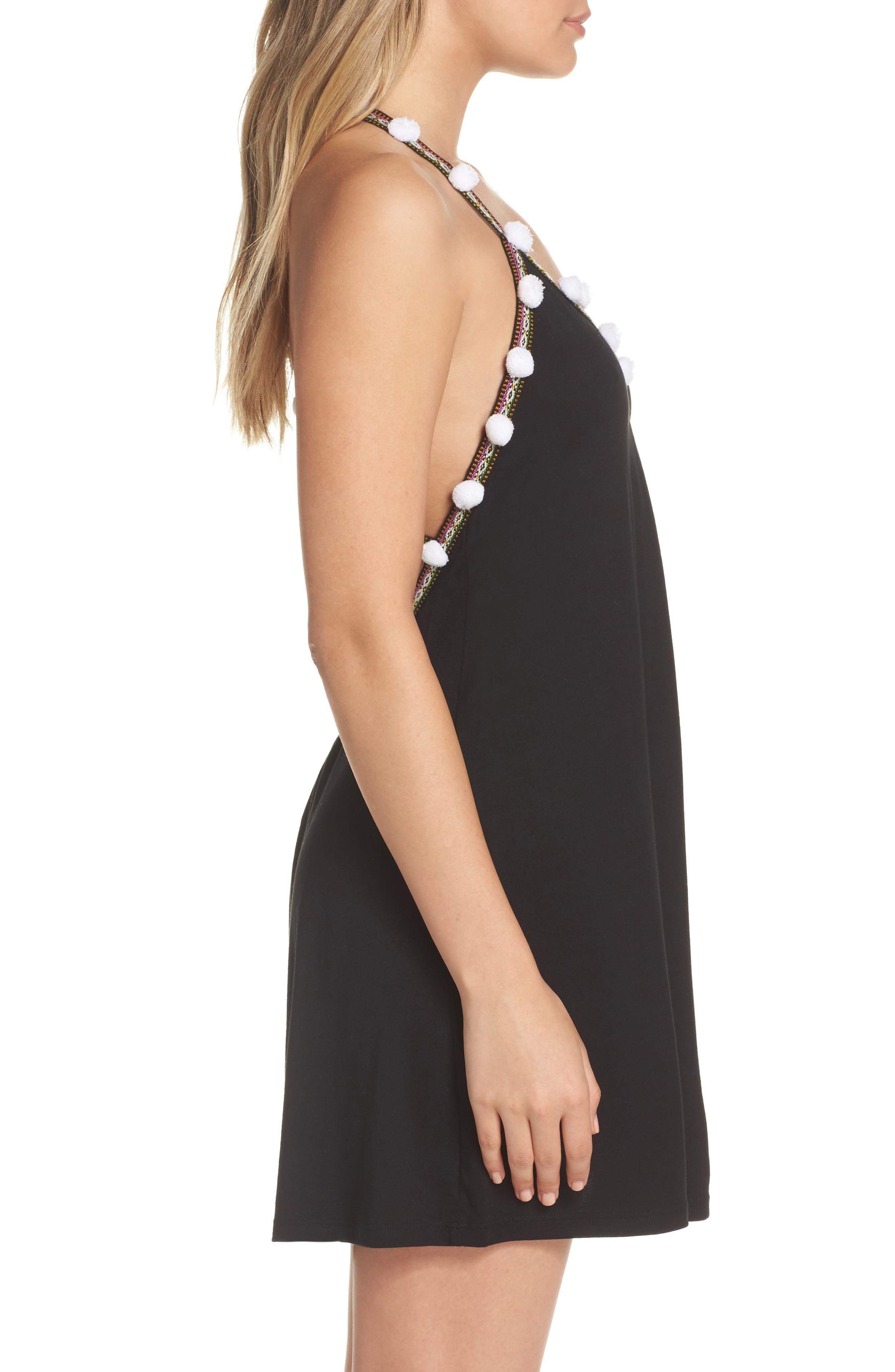 Pom Pom Cover-Up Dress,                             Alternate thumbnail 3, color,                             001
