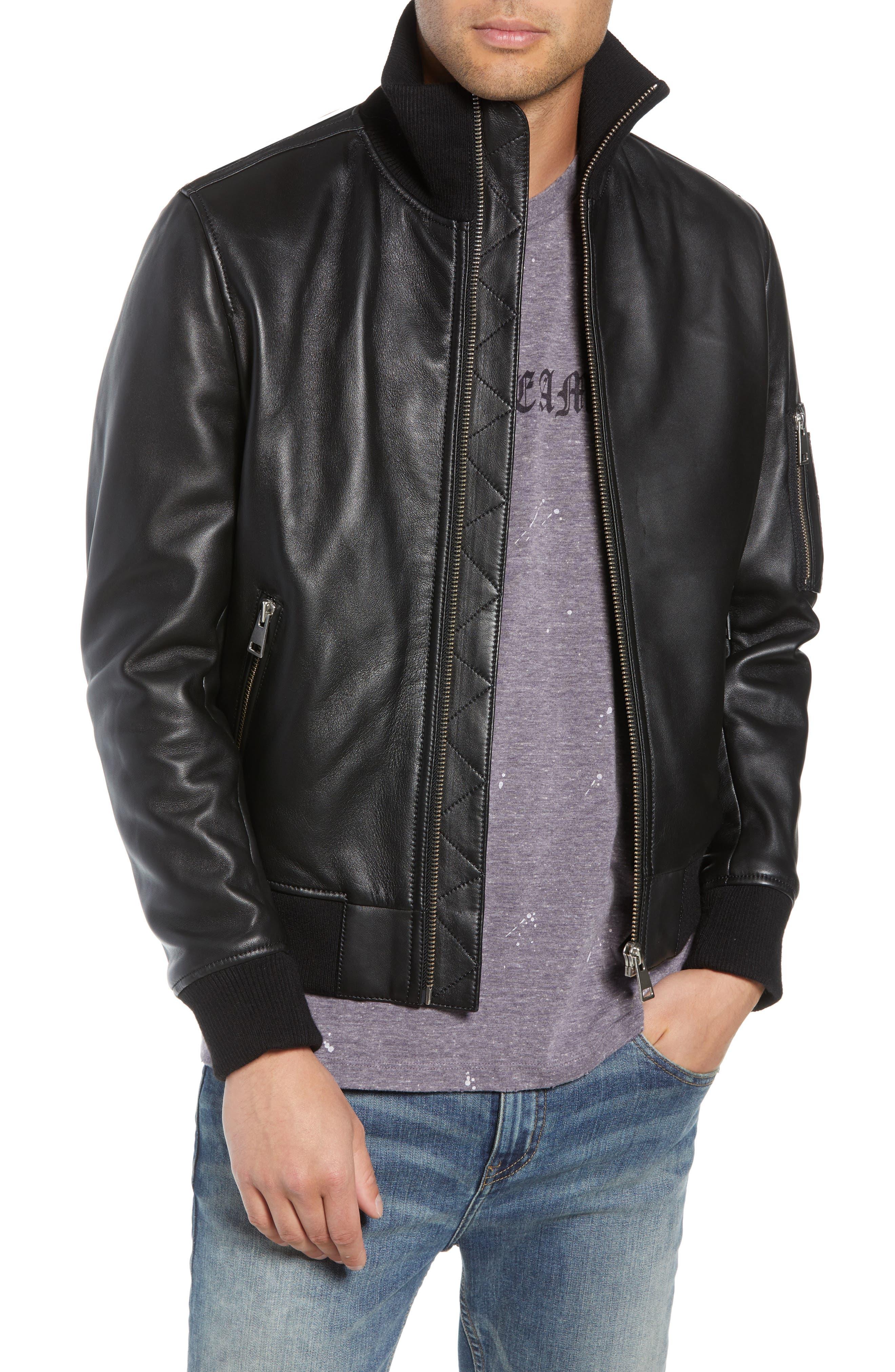 Regular Fit Leather Jacket,                             Main thumbnail 1, color,                             BLACK