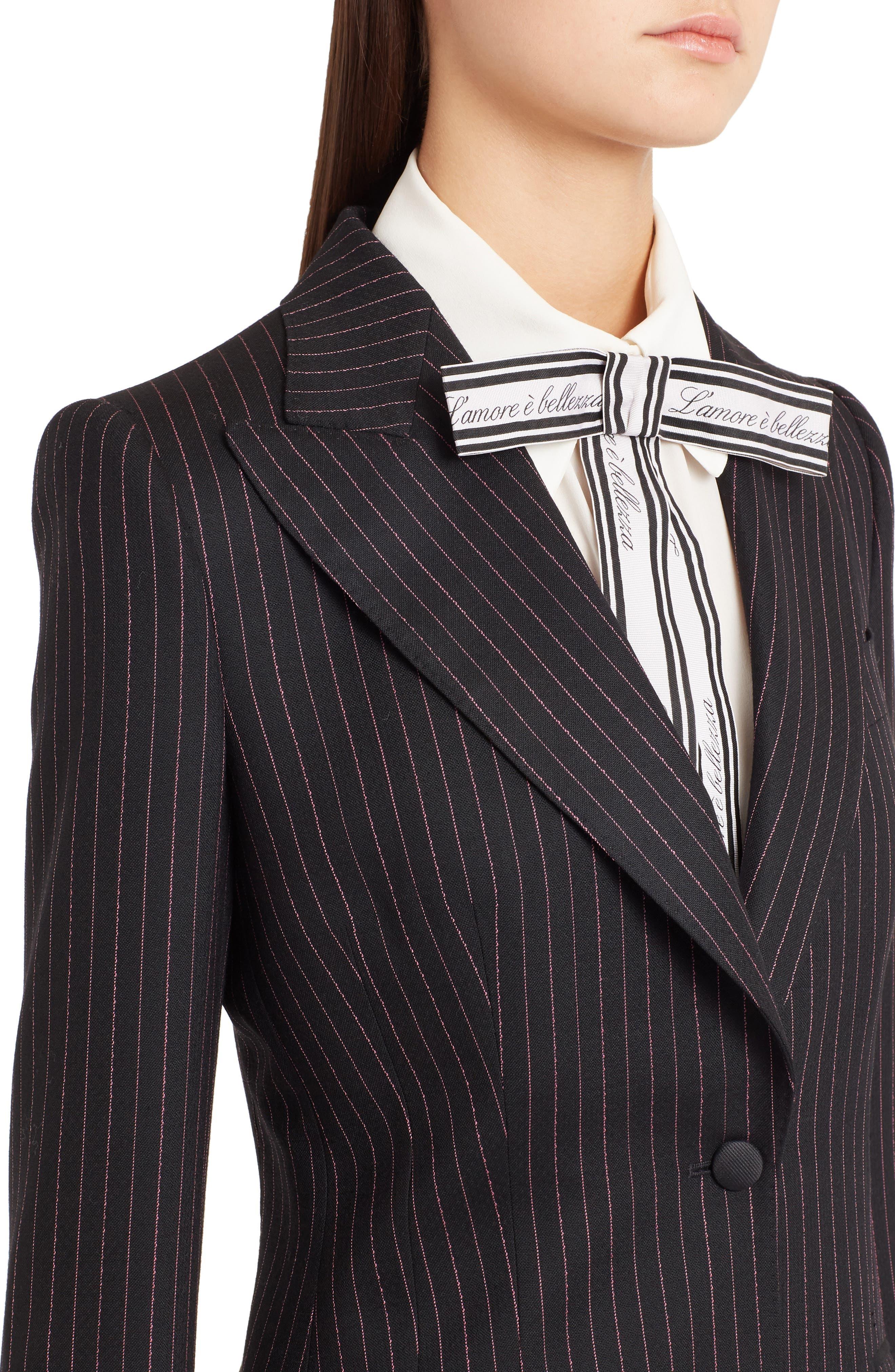 Pinstripe Stretch Wool Jacket,                             Alternate thumbnail 4, color,                             BLACK