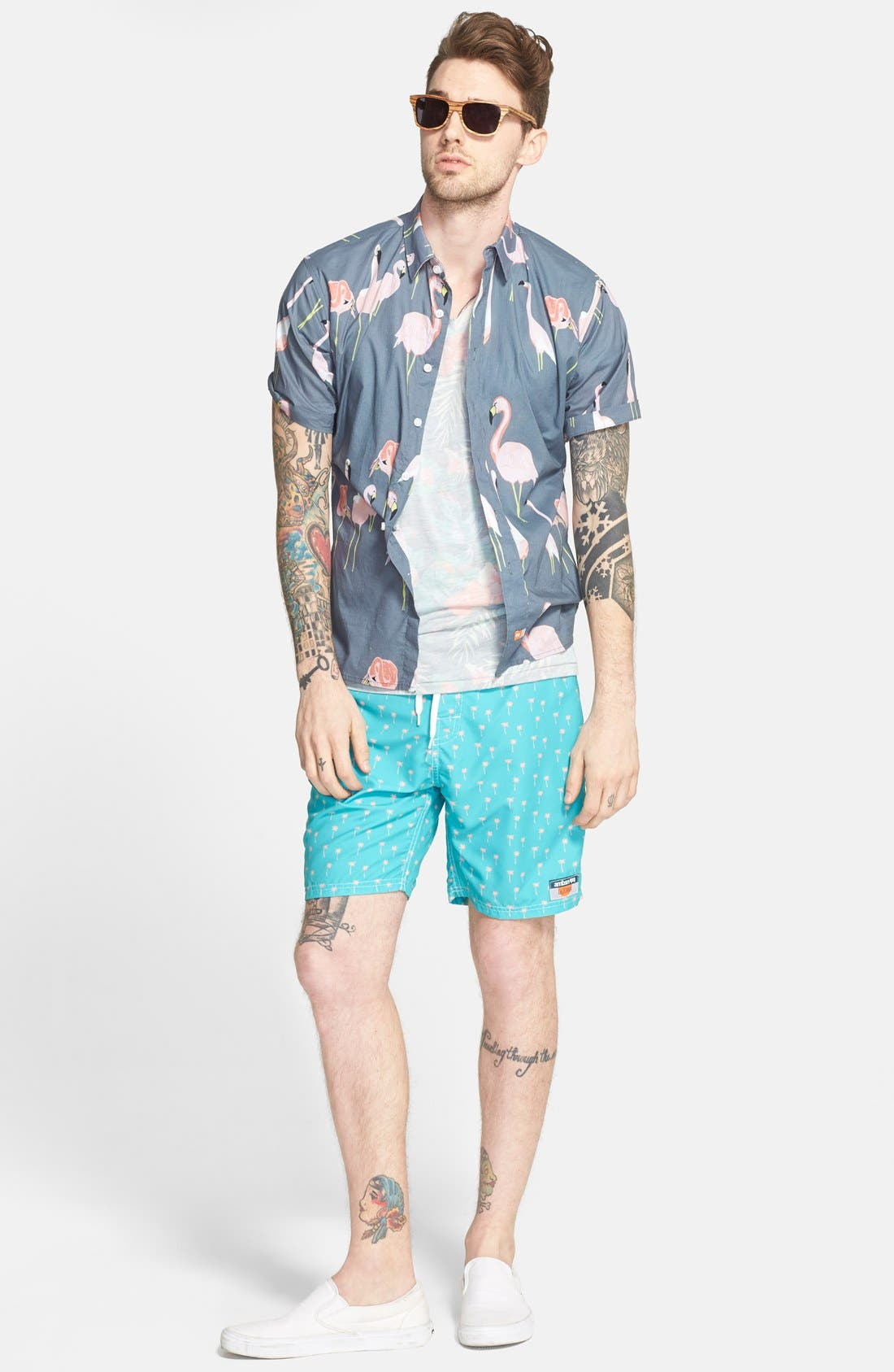 'Mingo' Trim Fit Short Sleeve Print Woven Shirt,                             Alternate thumbnail 3, color,                             010