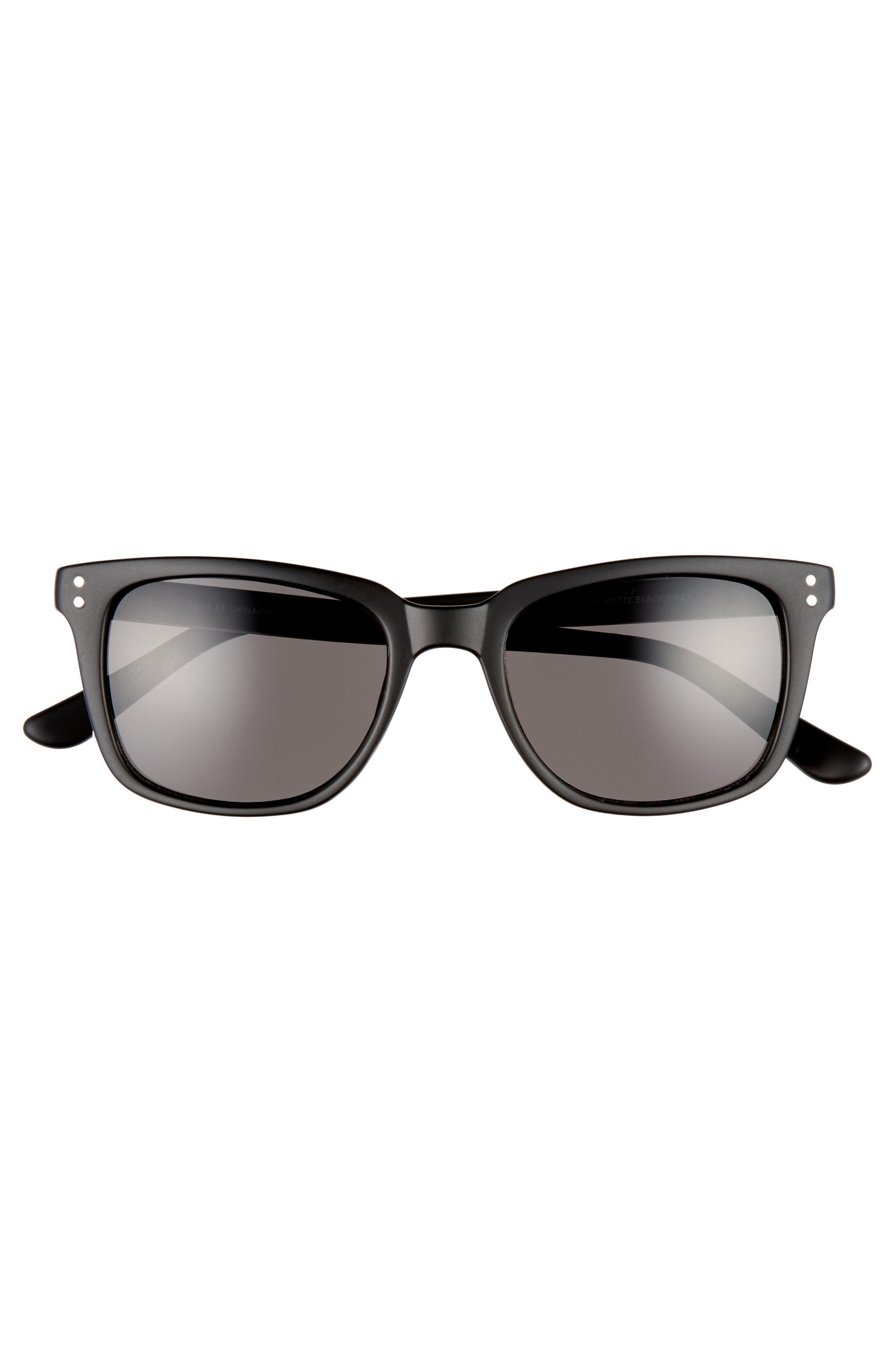 Curtis 52mm Square Sunglasses,                             Alternate thumbnail 2, color,                             MATTE BLACK/ GREY