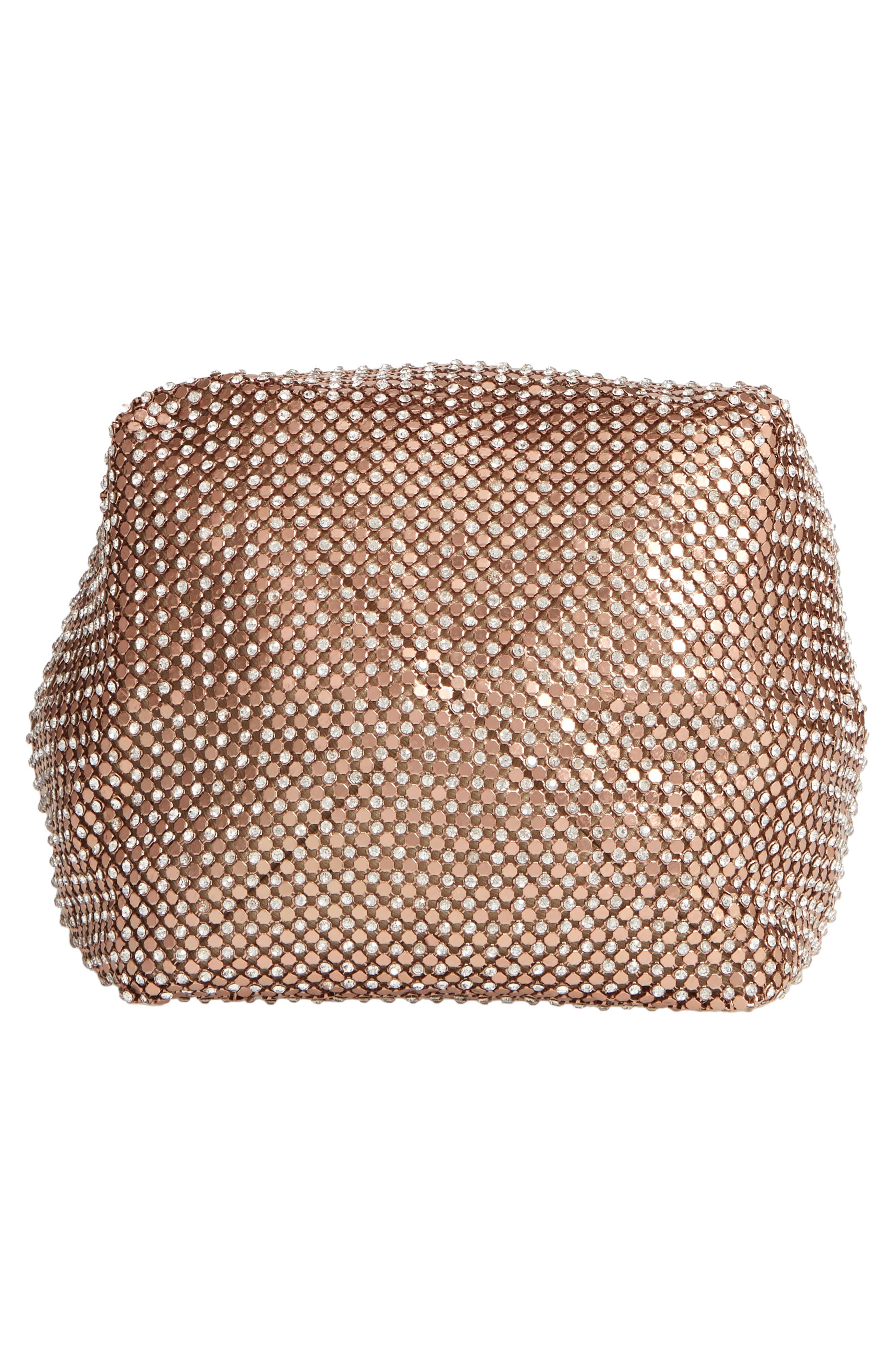 Crystal Mesh Crossbody Bucket Bag,                             Alternate thumbnail 6, color,                             ROSE GOLD