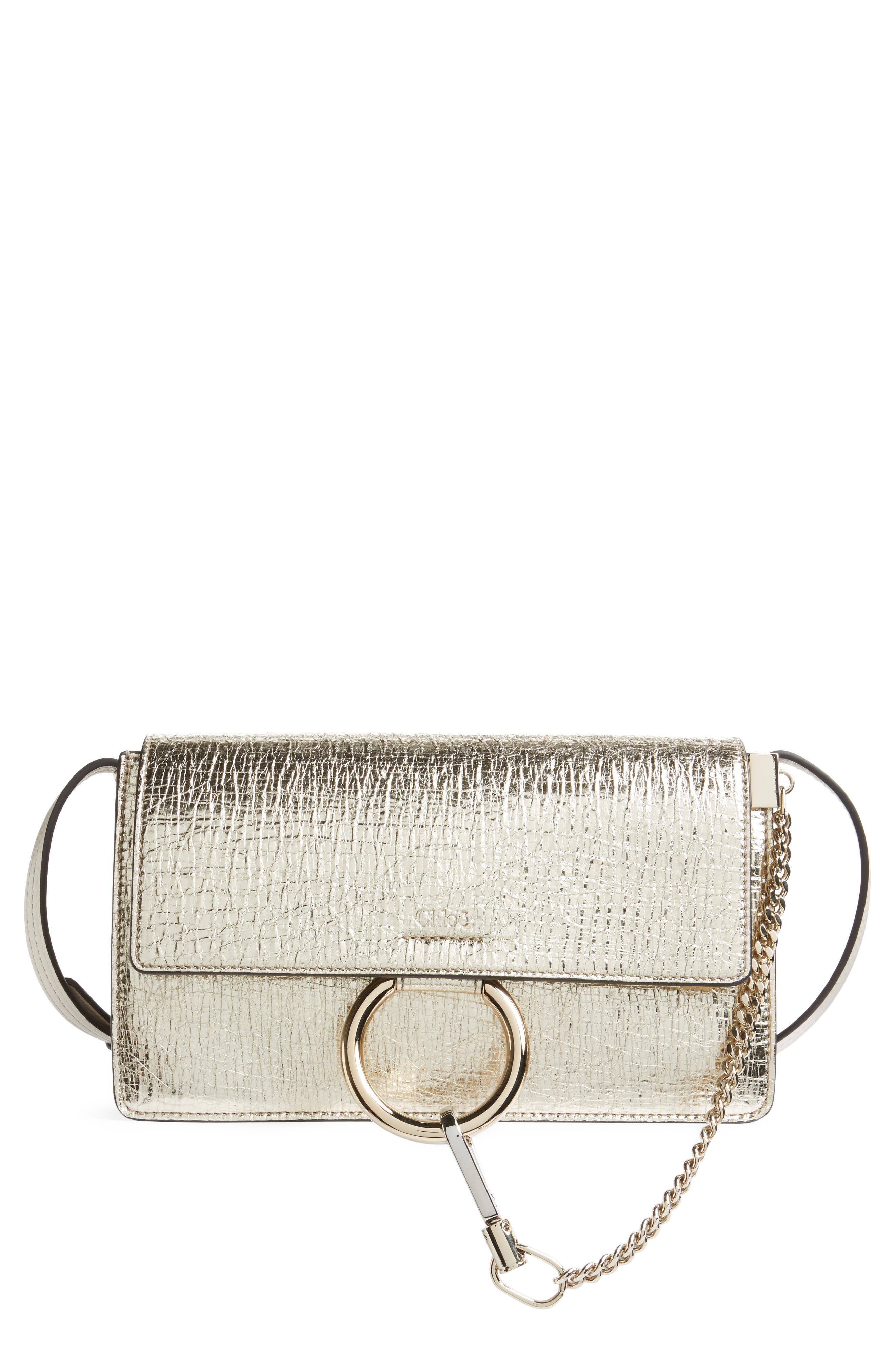 Small Faye Metallic Leather Shoulder Bag,                             Main thumbnail 1, color,                             GOLD