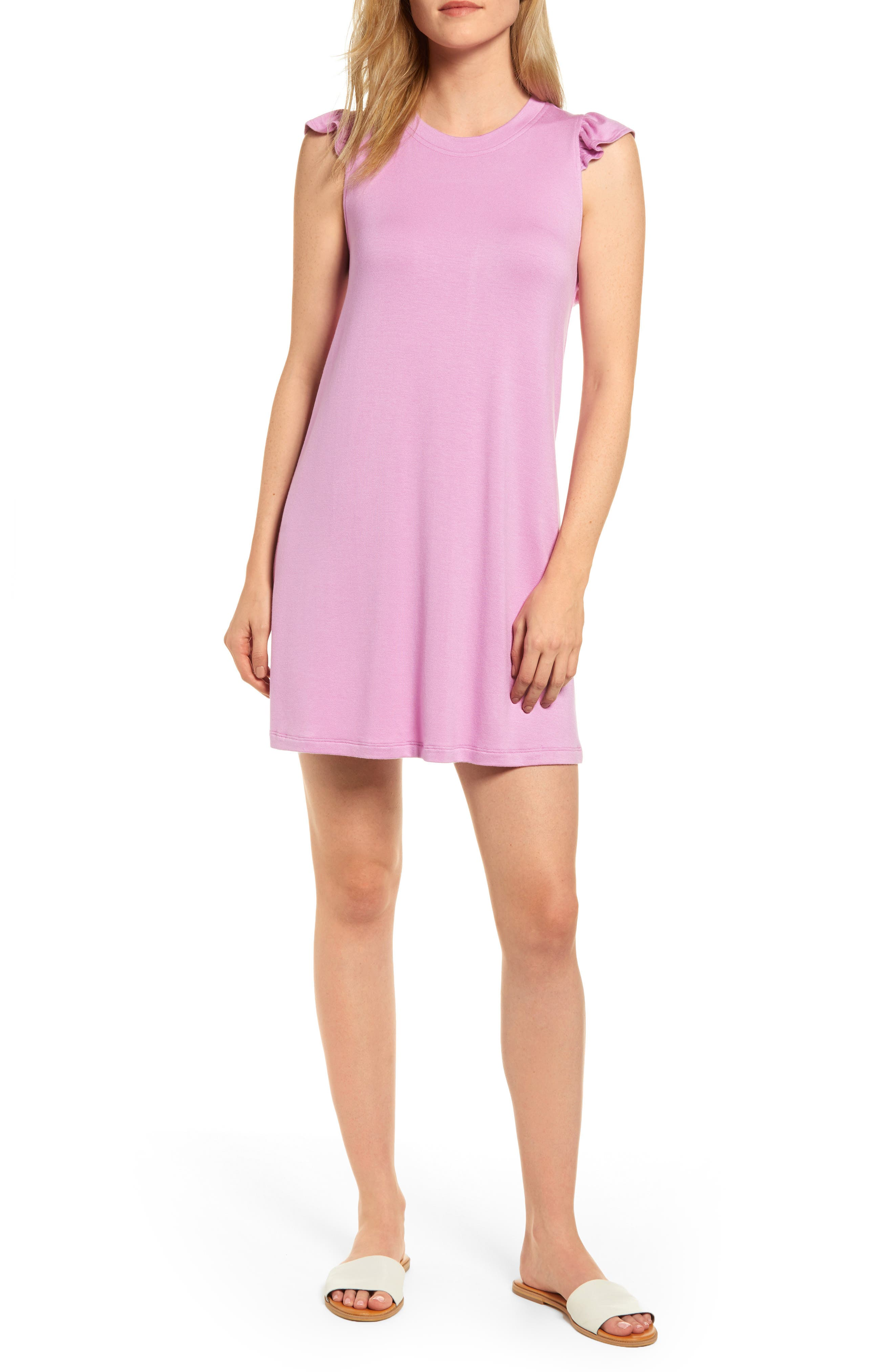 Petite Gibson X Hi Sugarplum! Laguna Soft Jersey Ruffle Back T-Shirt Dress, Pink