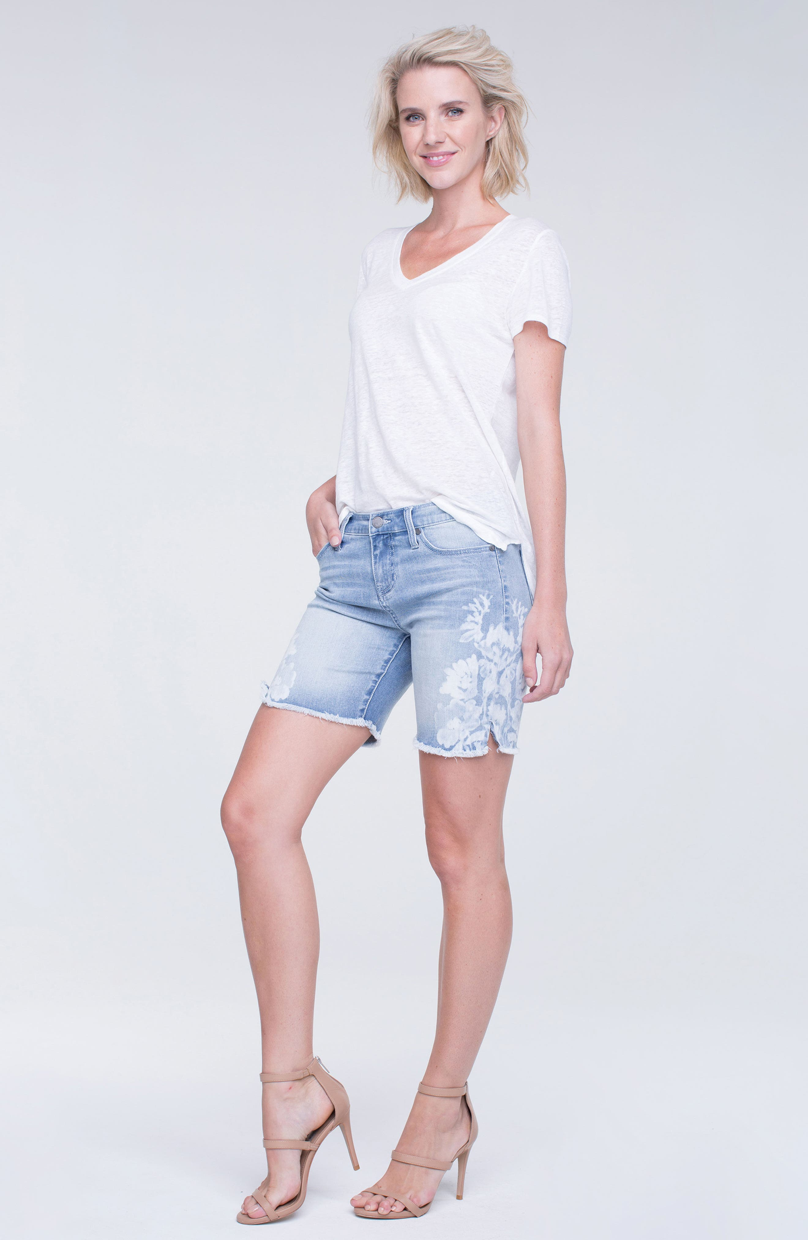 Corine Flower Frayed Denim Shorts,                             Alternate thumbnail 4, color,                             MANDALAY LIGHT
