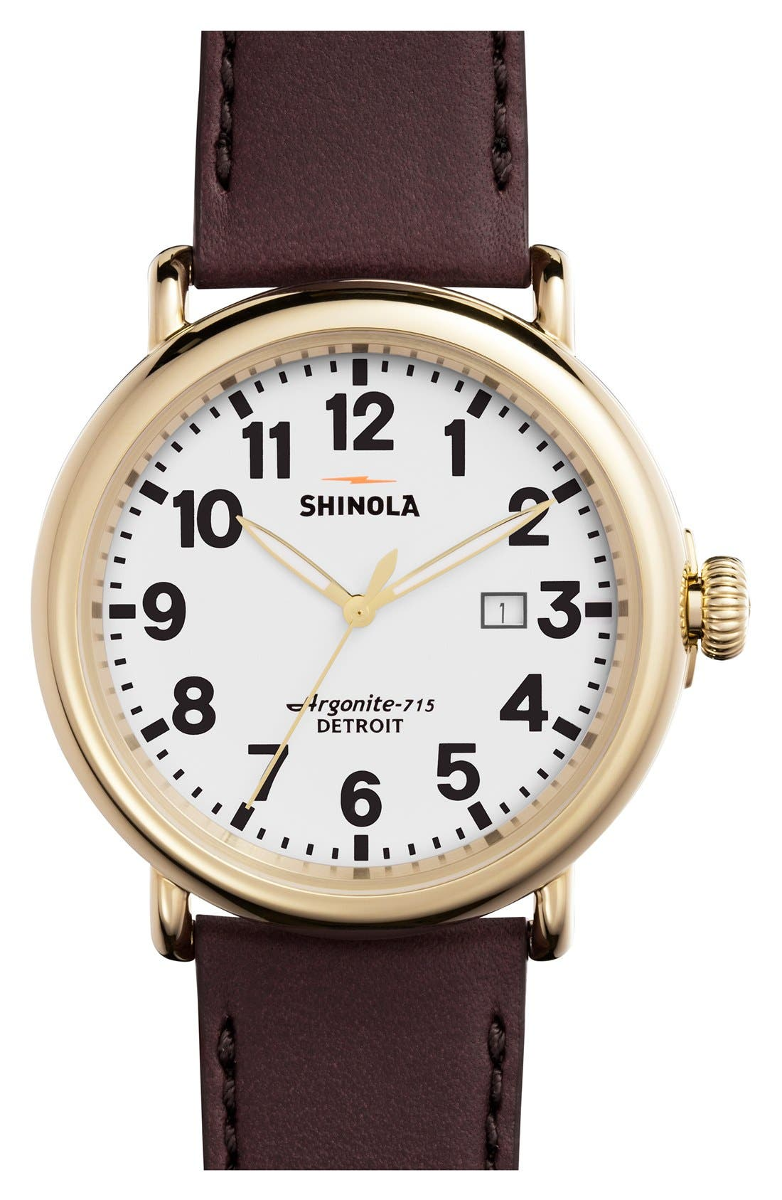 'The Runwell' Leather Strap Watch, 47mm,                             Main thumbnail 11, color,