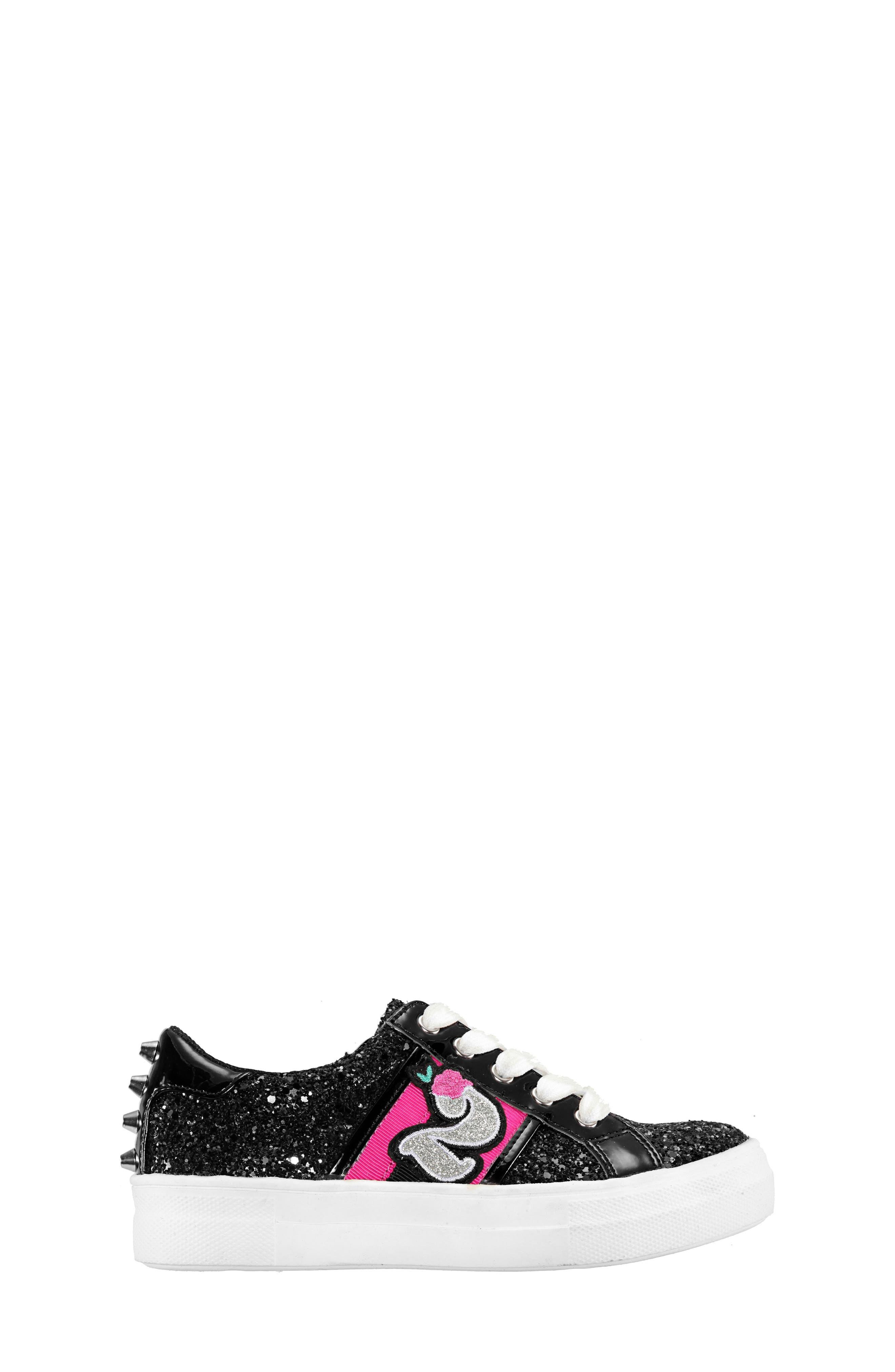 Hazeline-N Glitter Sneaker,                             Alternate thumbnail 3, color,                             BLACK CHUNKY GLITTER