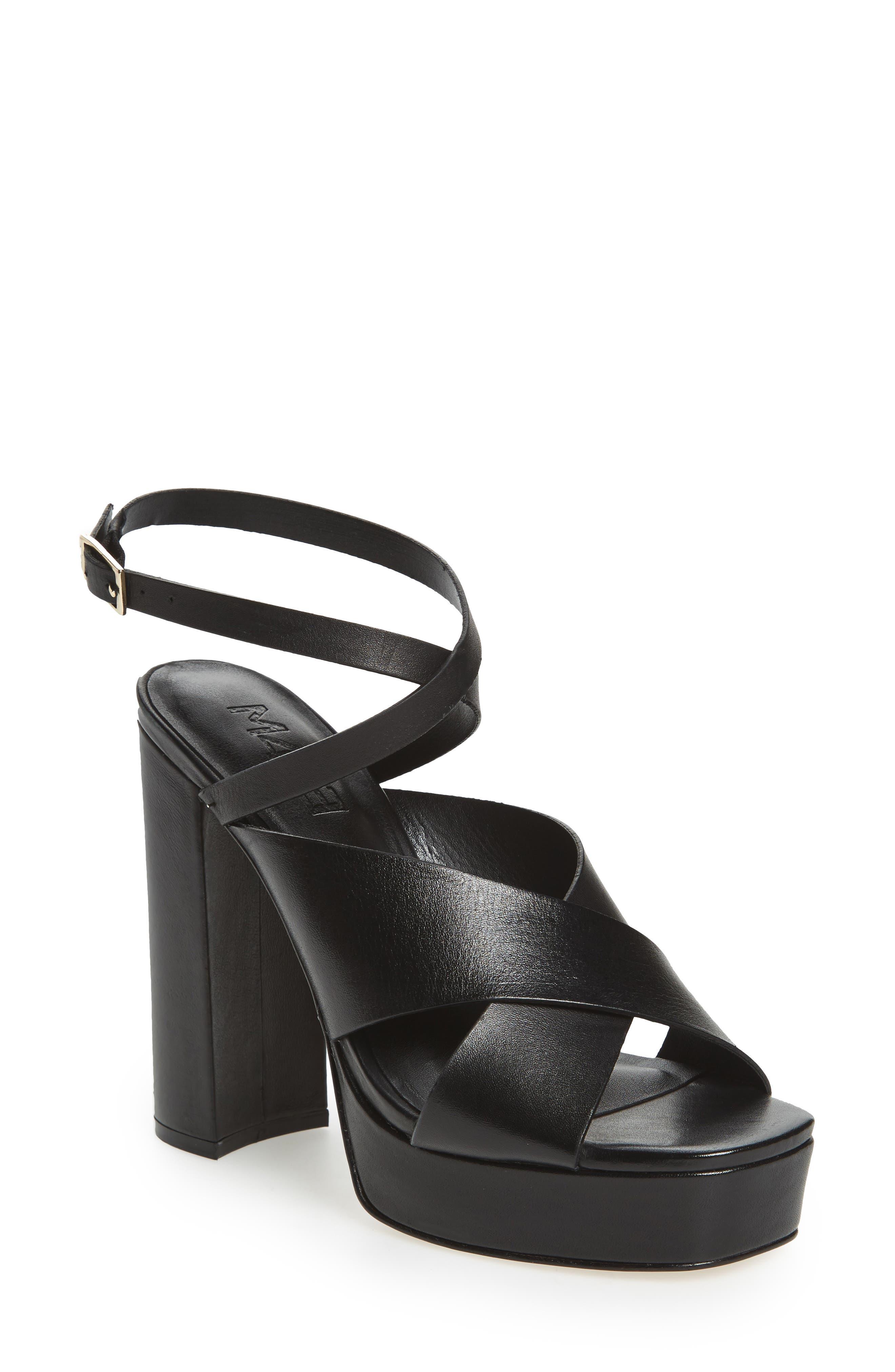 M4D3 Priscilla Wraparound Platform Sandal,                             Main thumbnail 1, color,                             BLACK