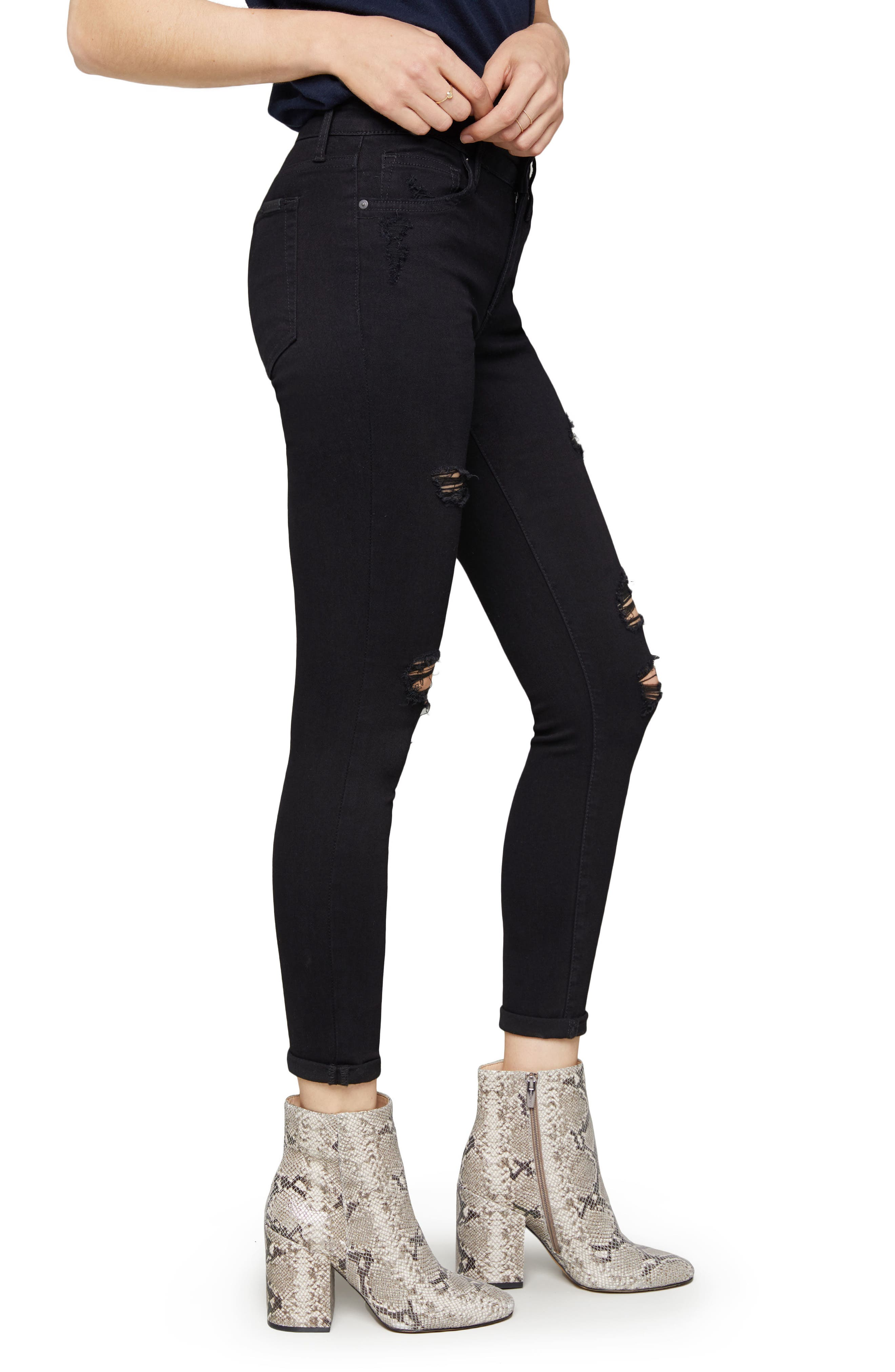Icon Crop Ripped Skinny Jeans,                             Alternate thumbnail 3, color,                             LILLIANA