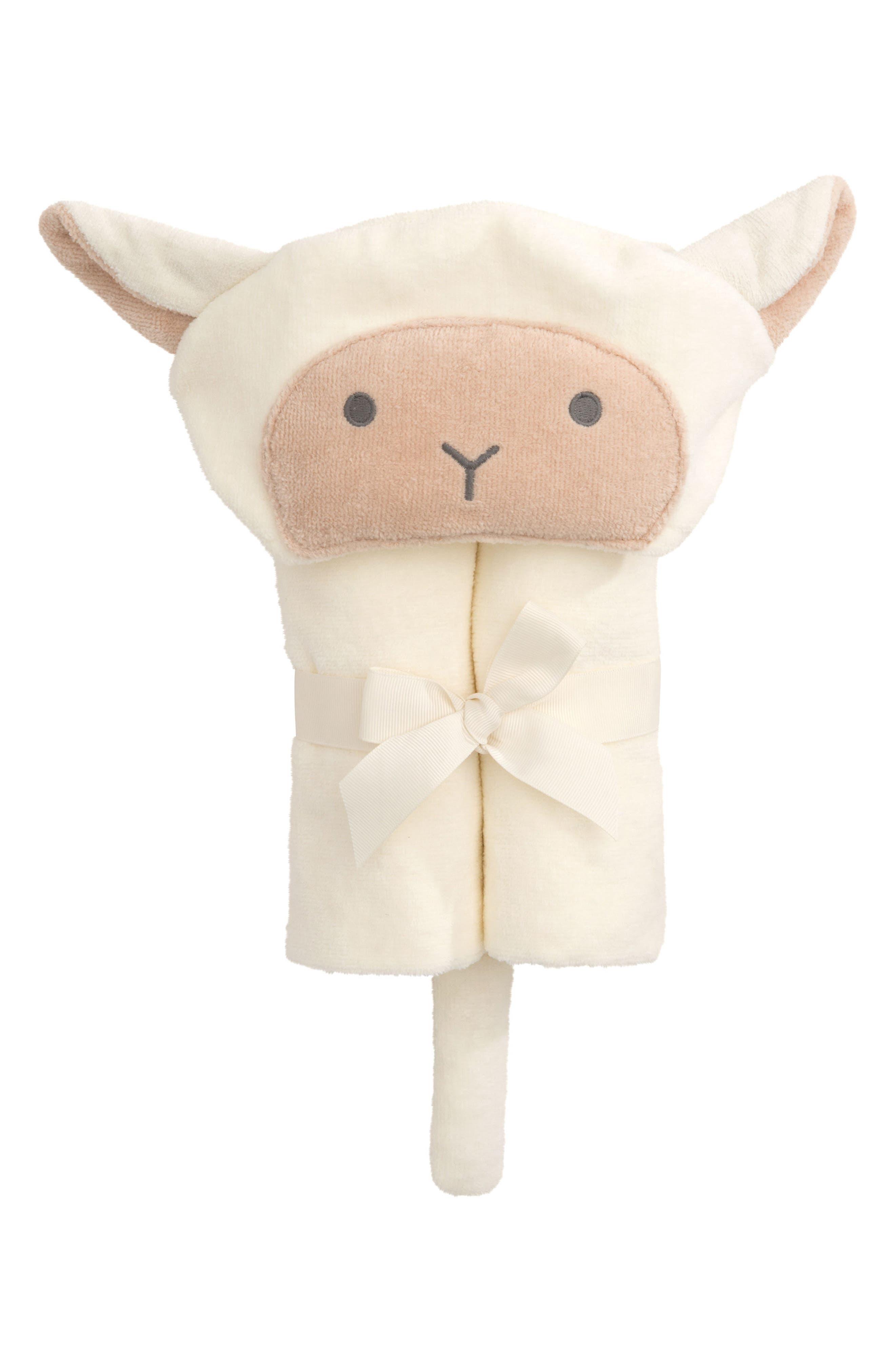 Terry Velour Hooded Lamb Towel,                             Main thumbnail 1, color,                             100