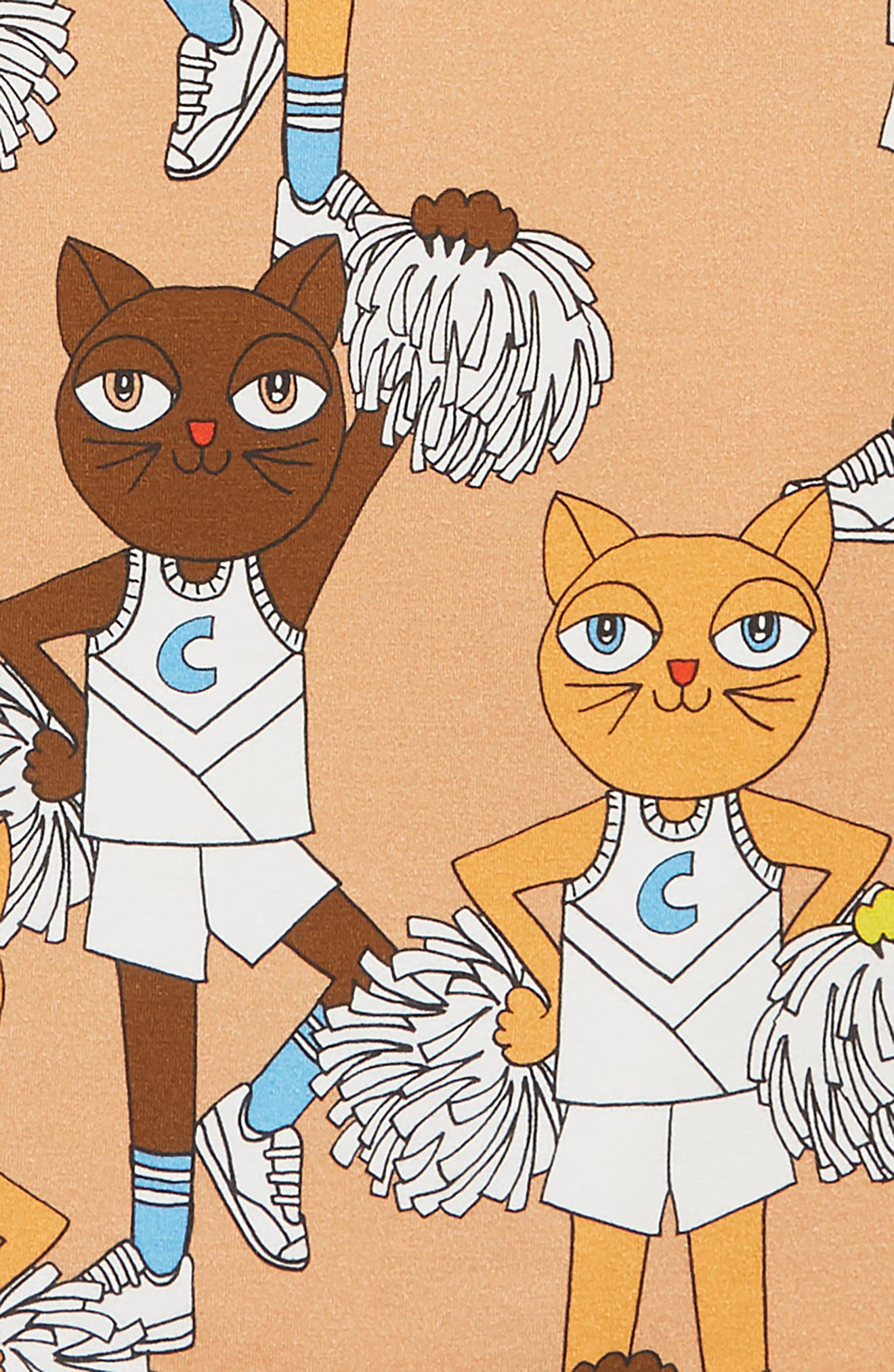 Cheer Cats Dress,                             Alternate thumbnail 3, color,                             BEIGE