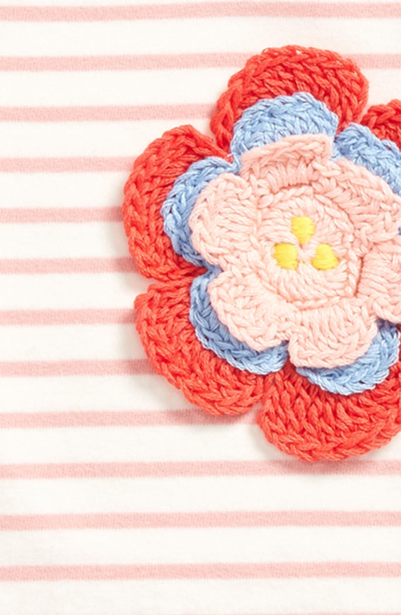 Stripy Crochet Appliqué Tee,                             Alternate thumbnail 2, color,                             684