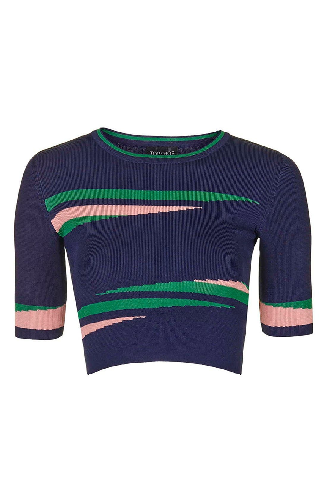 'Eraser Stripe' Crop Top,                             Alternate thumbnail 4, color,                             410