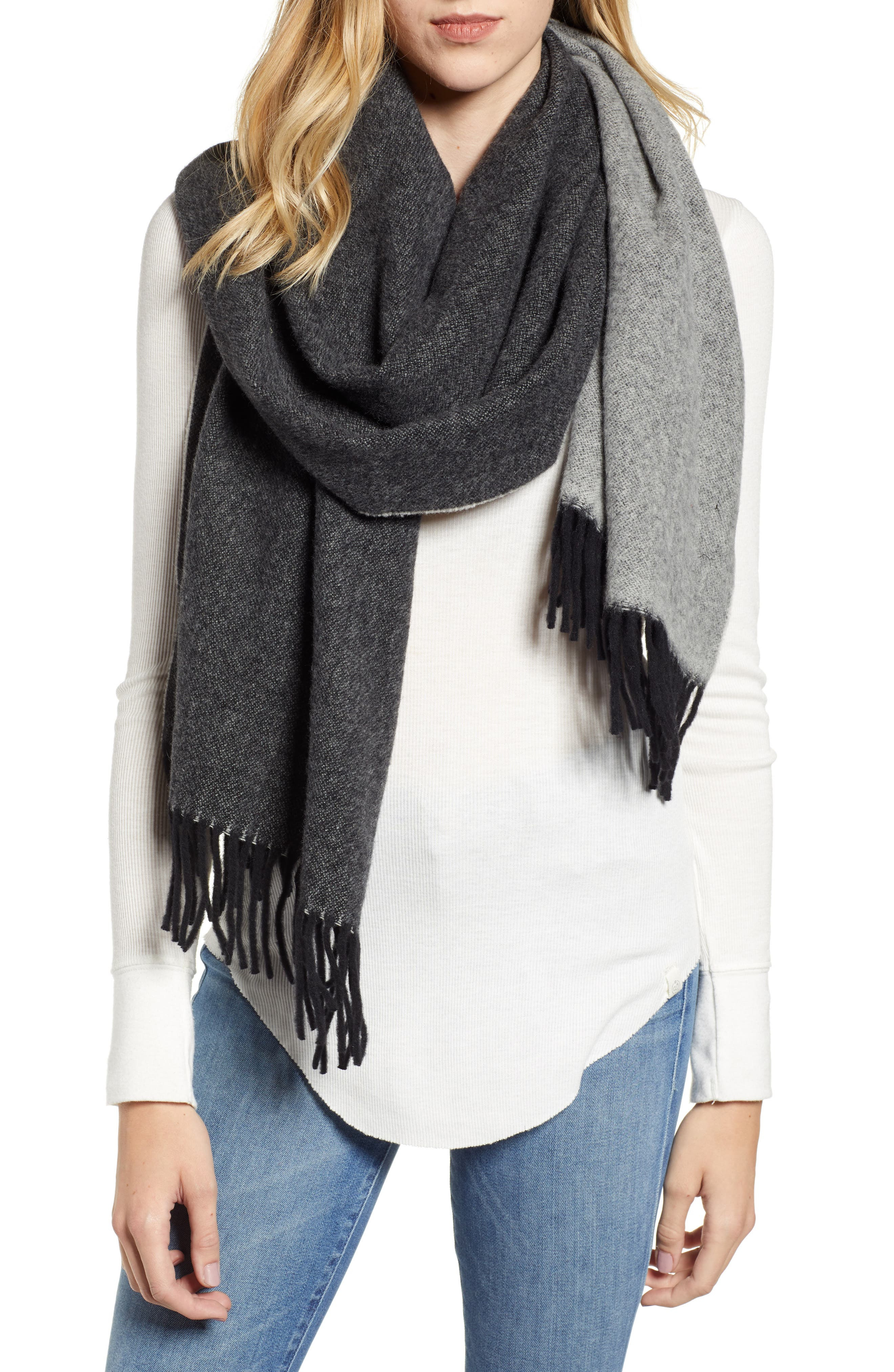 Two Tone Woven Wool Scarf,                             Main thumbnail 1, color,                             BLACK