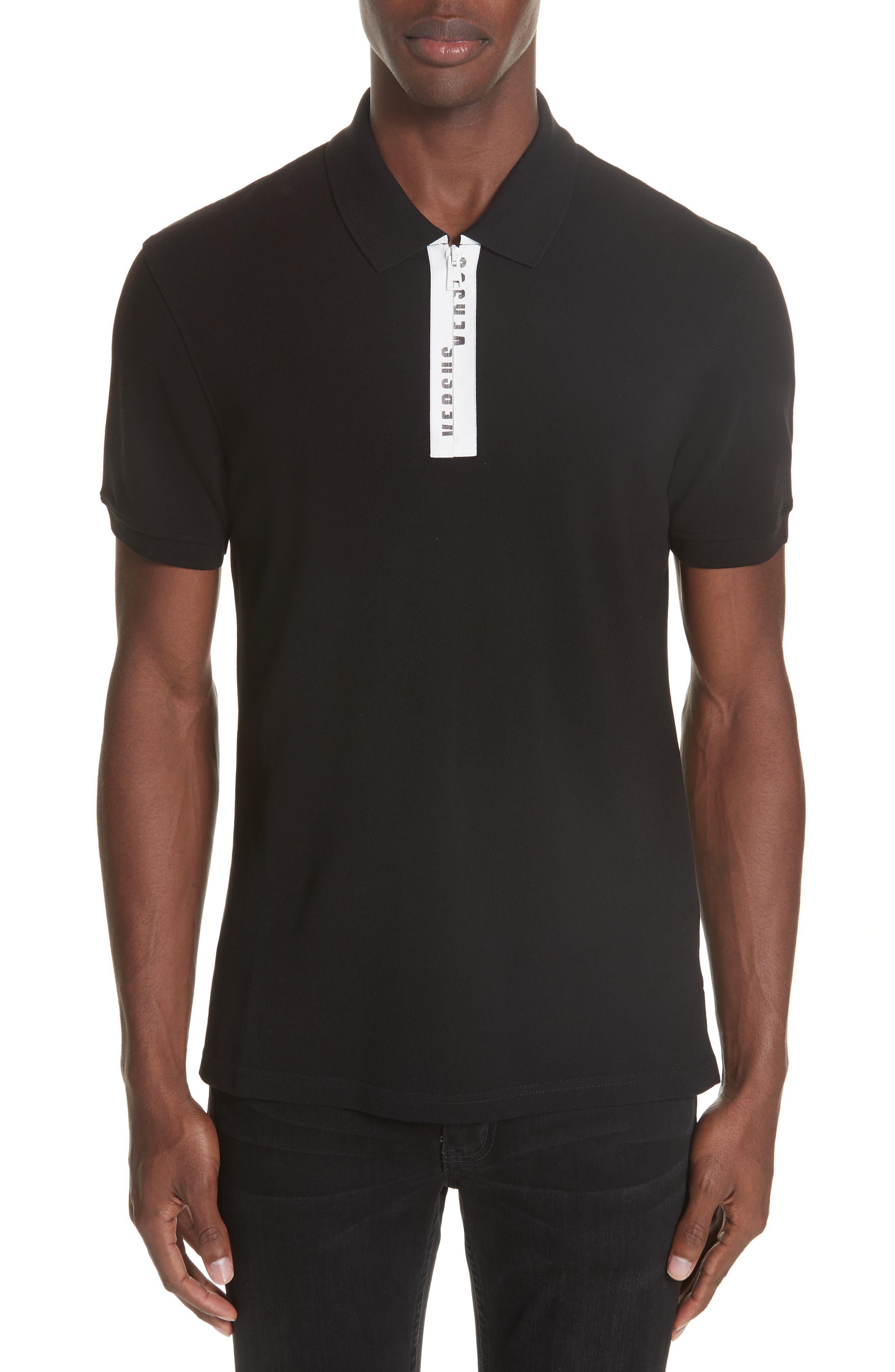 Zip Polo,                         Main,                         color, B1008 BLACK