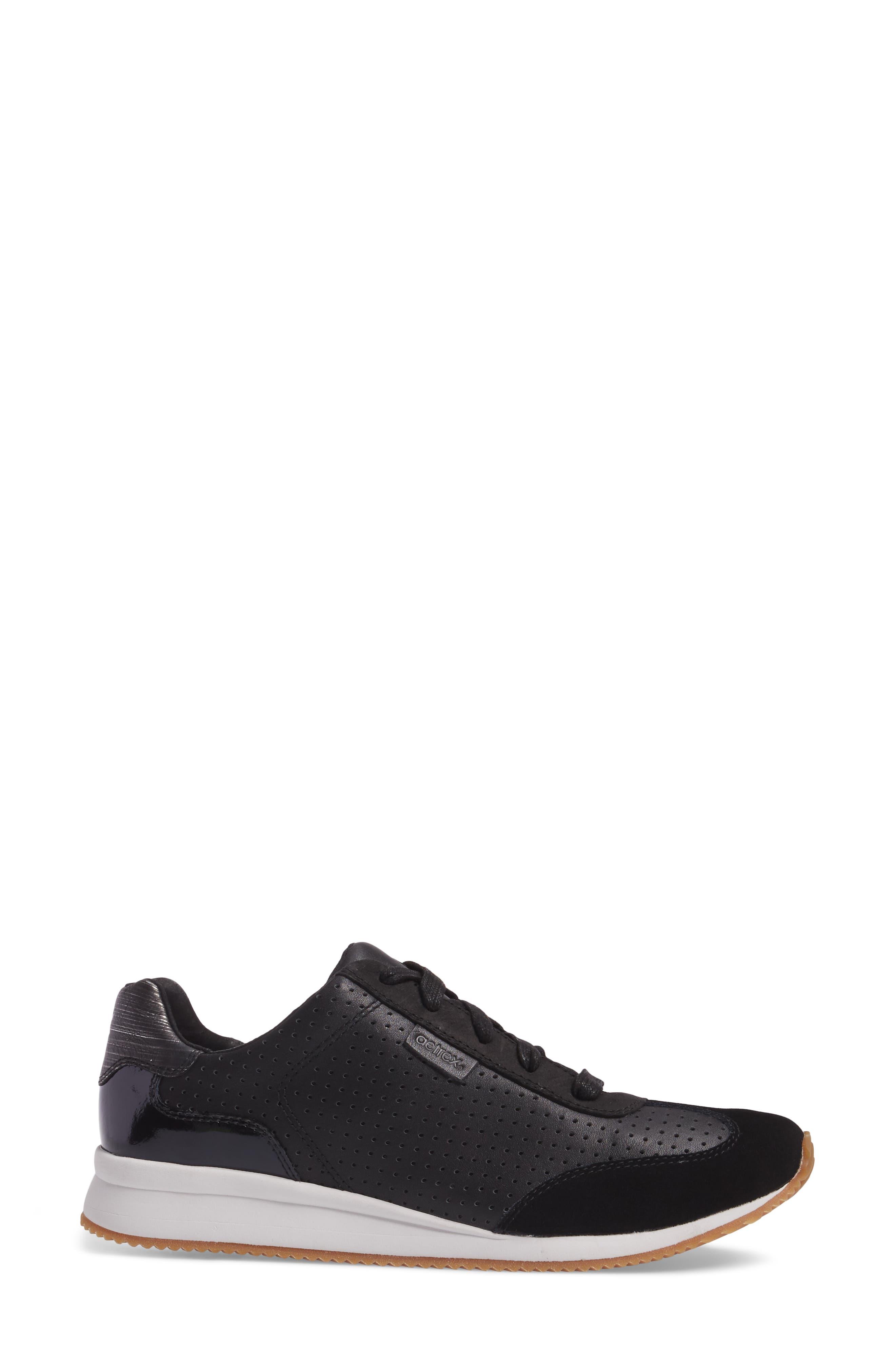 Nadia Sneaker,                             Alternate thumbnail 3, color,                             BLACK LEATHER