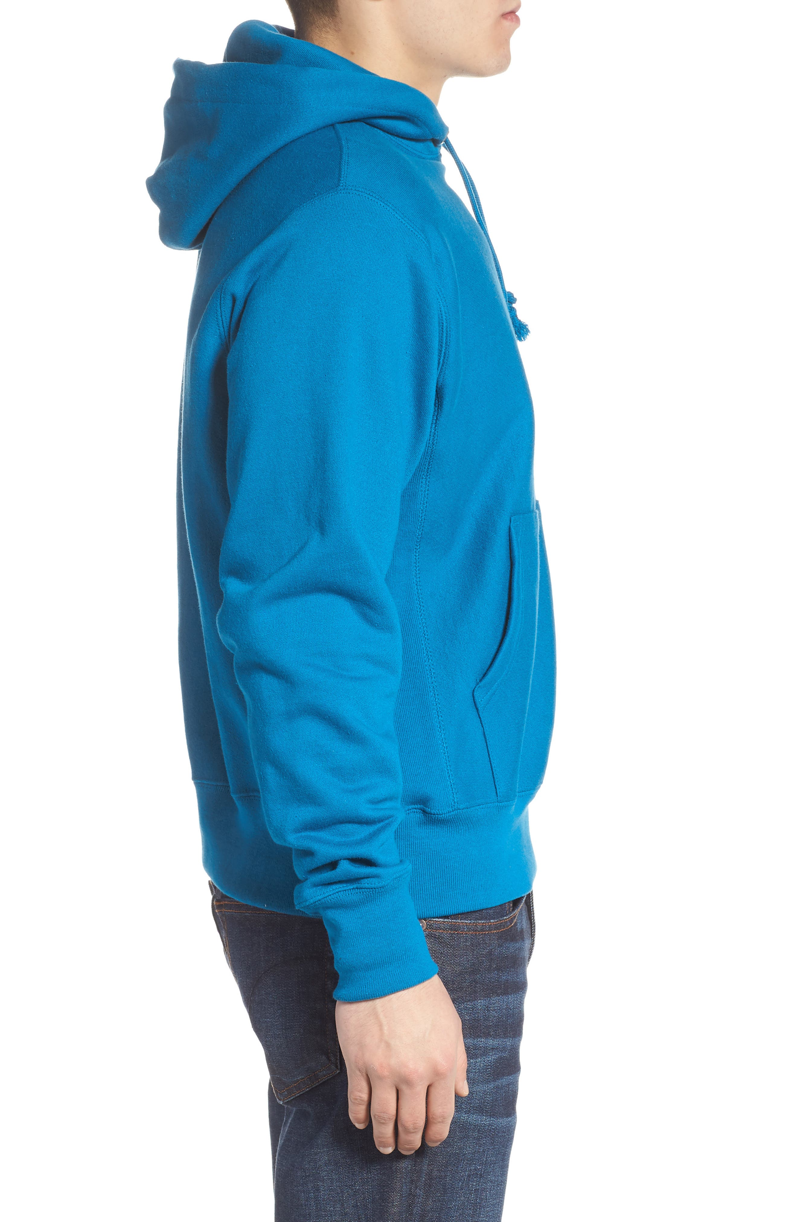 Reverse Weave<sup>®</sup> Pullover Hoodie,                             Alternate thumbnail 3, color,                             DEEP HOTLINE BLUE