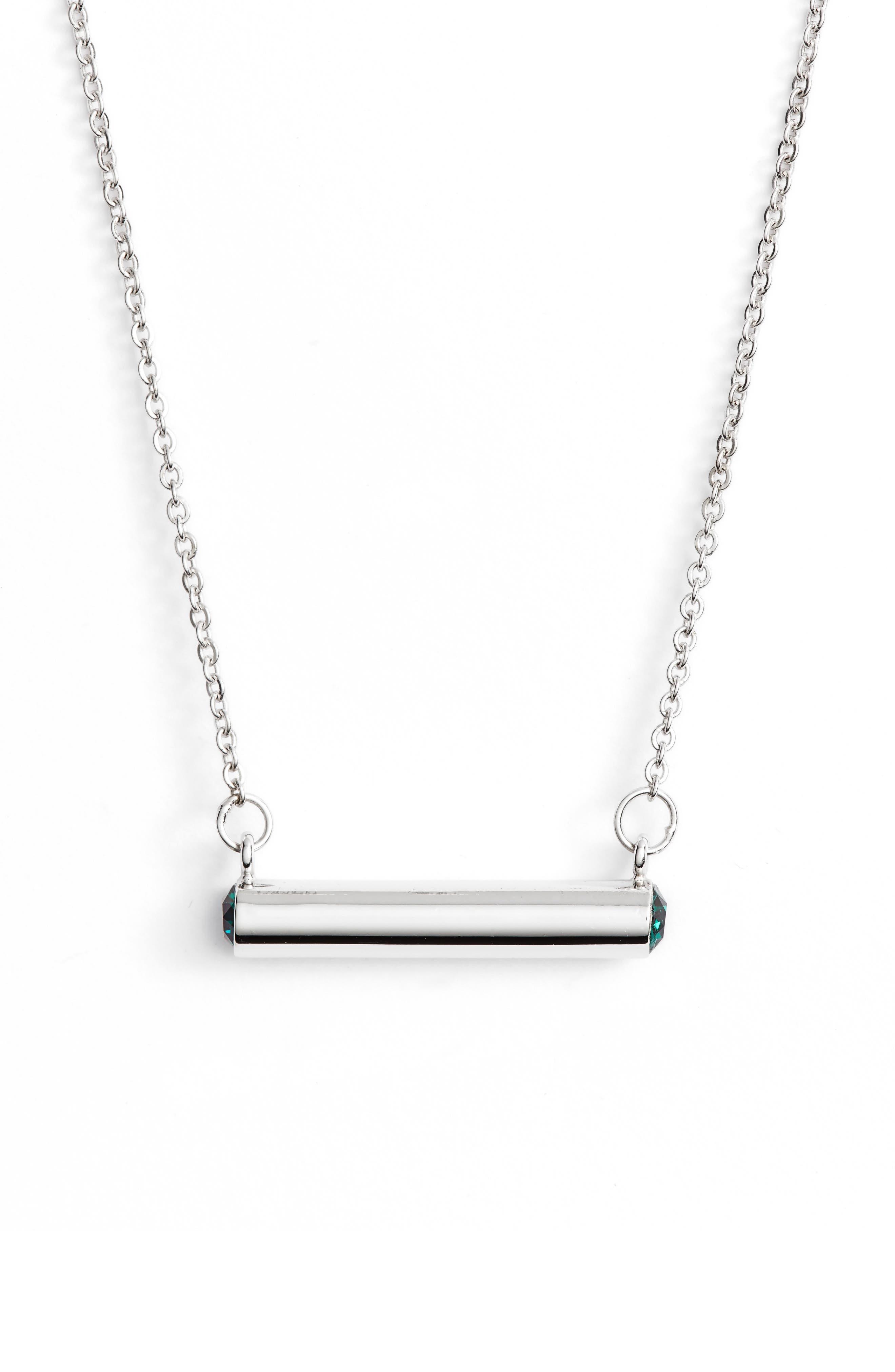 May Crystal Bar Pendant Necklace,                             Main thumbnail 1, color,                             SILVER