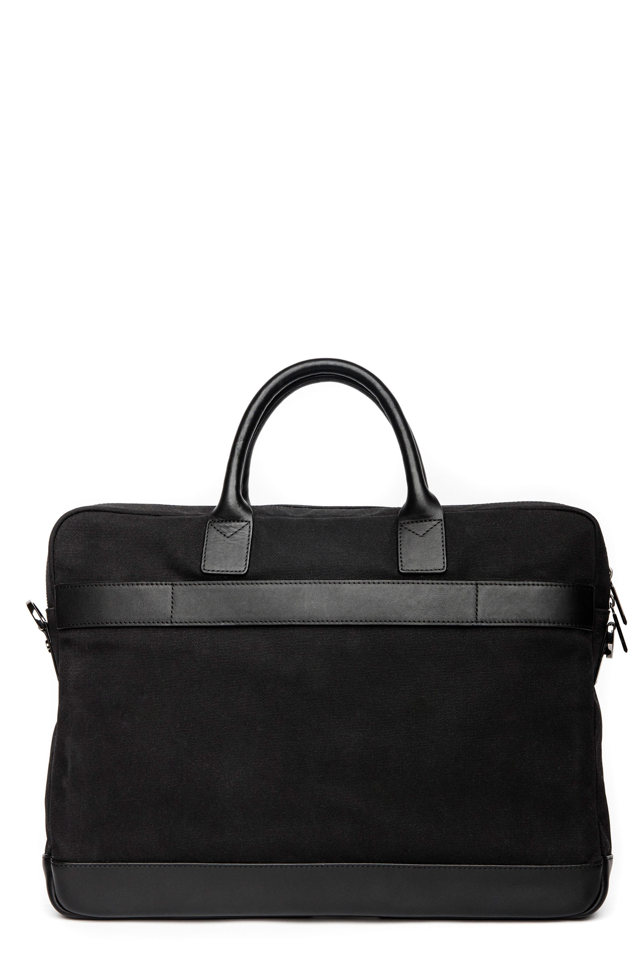 Canvas Laptop Briefcase,                             Alternate thumbnail 2, color,                             BLACK