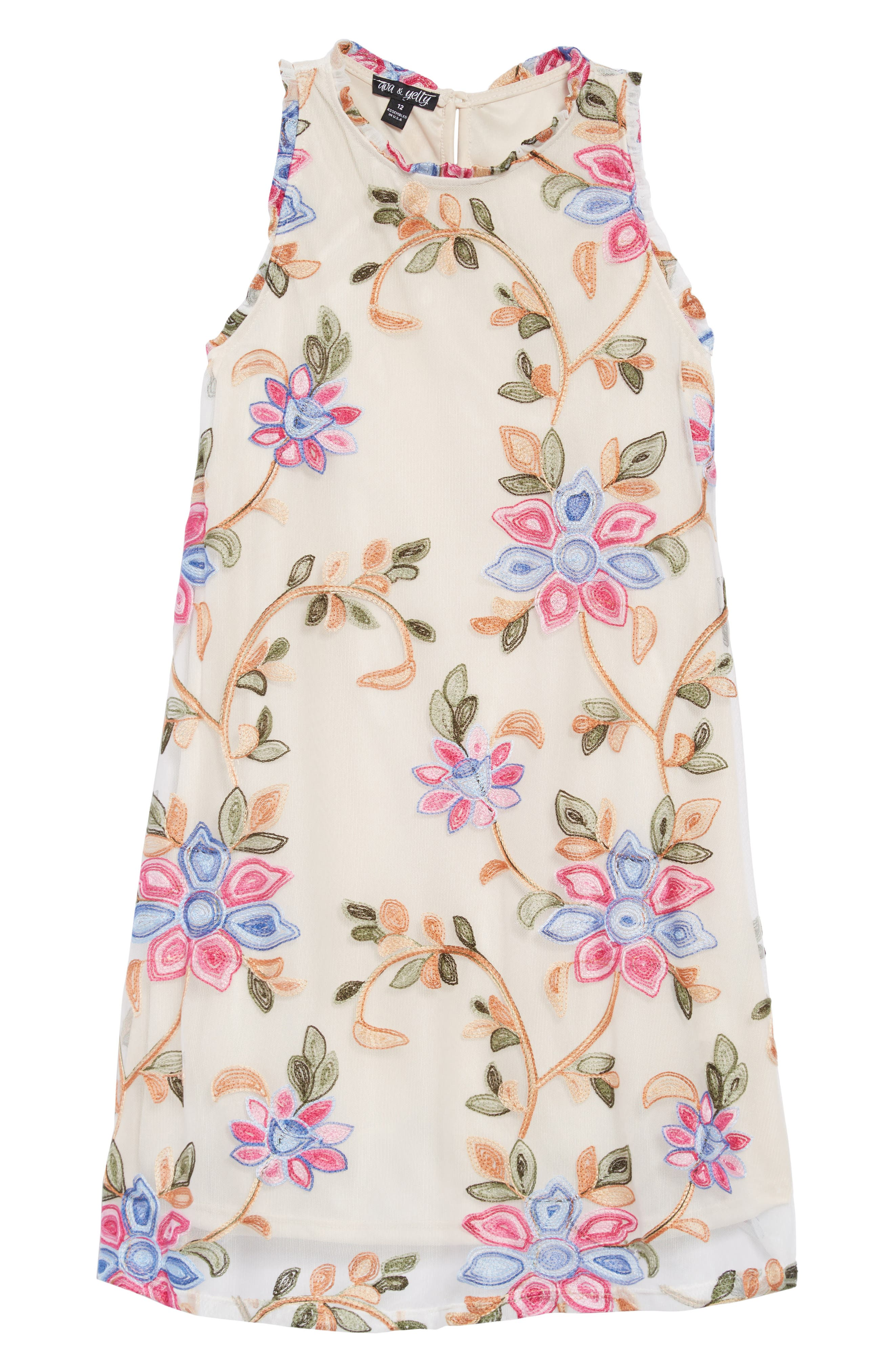 Floral Embroidered Shift Dress,                             Main thumbnail 1, color,                             400