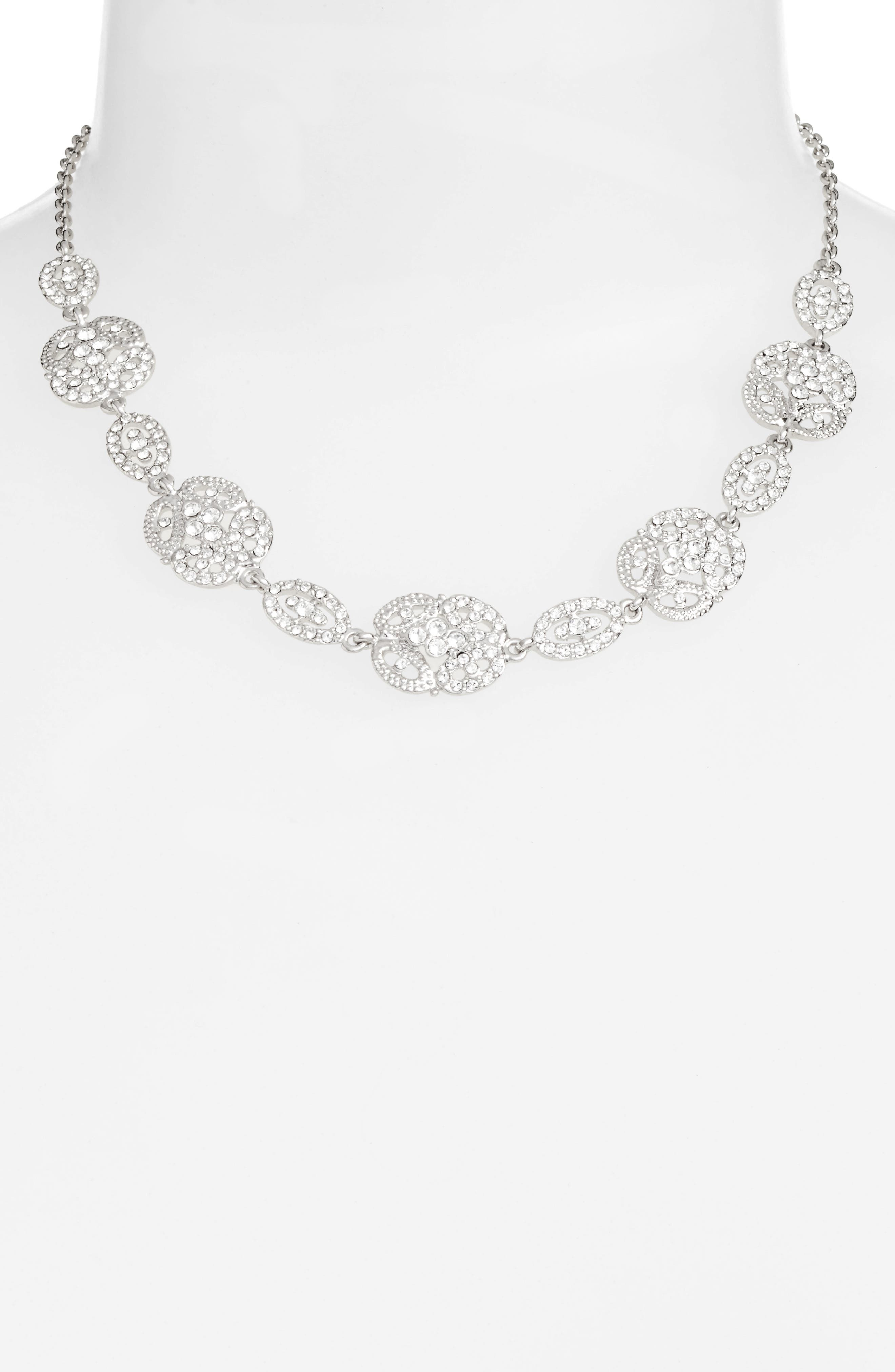 Ayda Pavé Frontal Necklace,                             Alternate thumbnail 2, color,                             040
