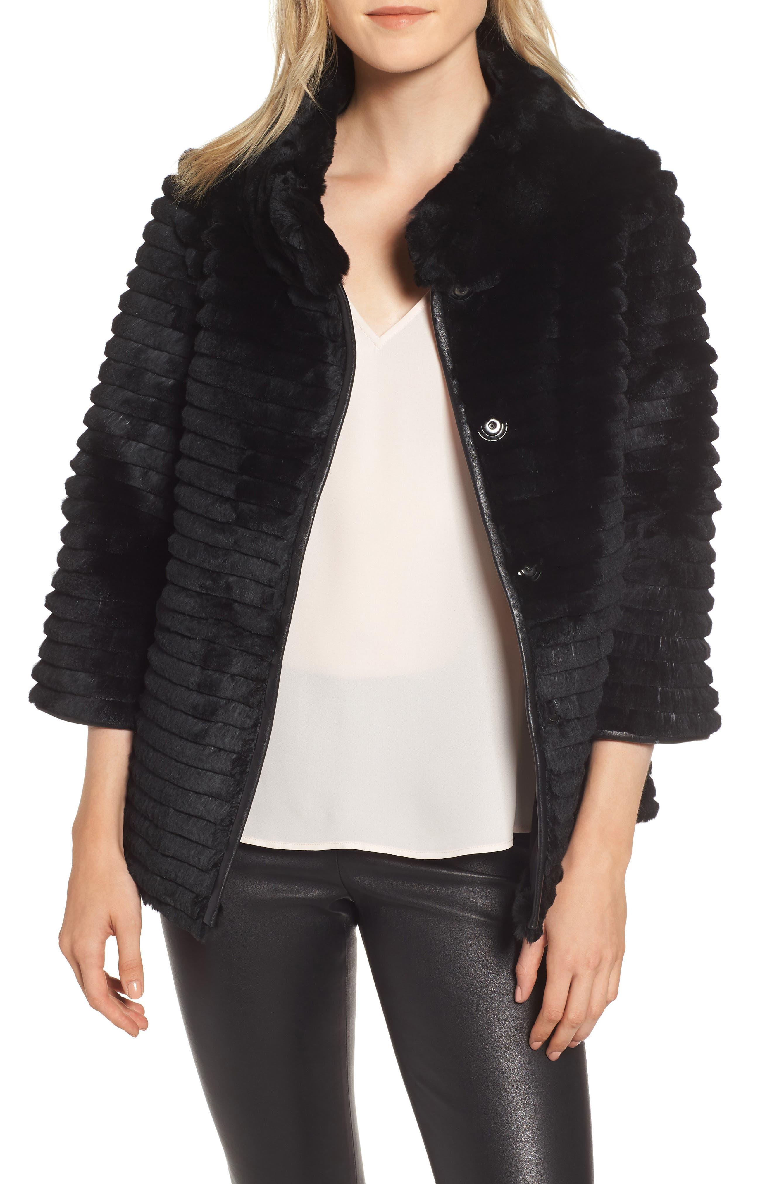 Genuine Rex Rabbit Fur Crop Jacket,                             Main thumbnail 1, color,                             BLACK