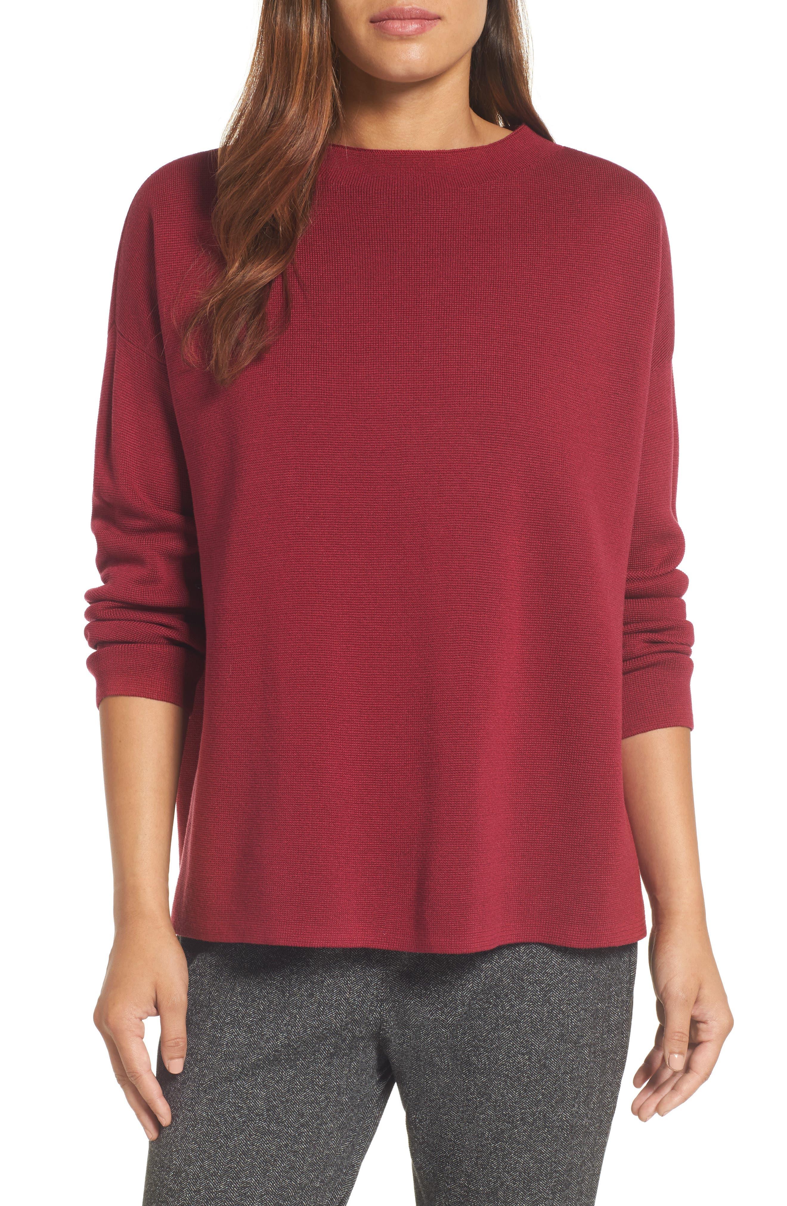 Mock Neck Box Silk & Organic Cotton Sweater,                         Main,                         color, 635