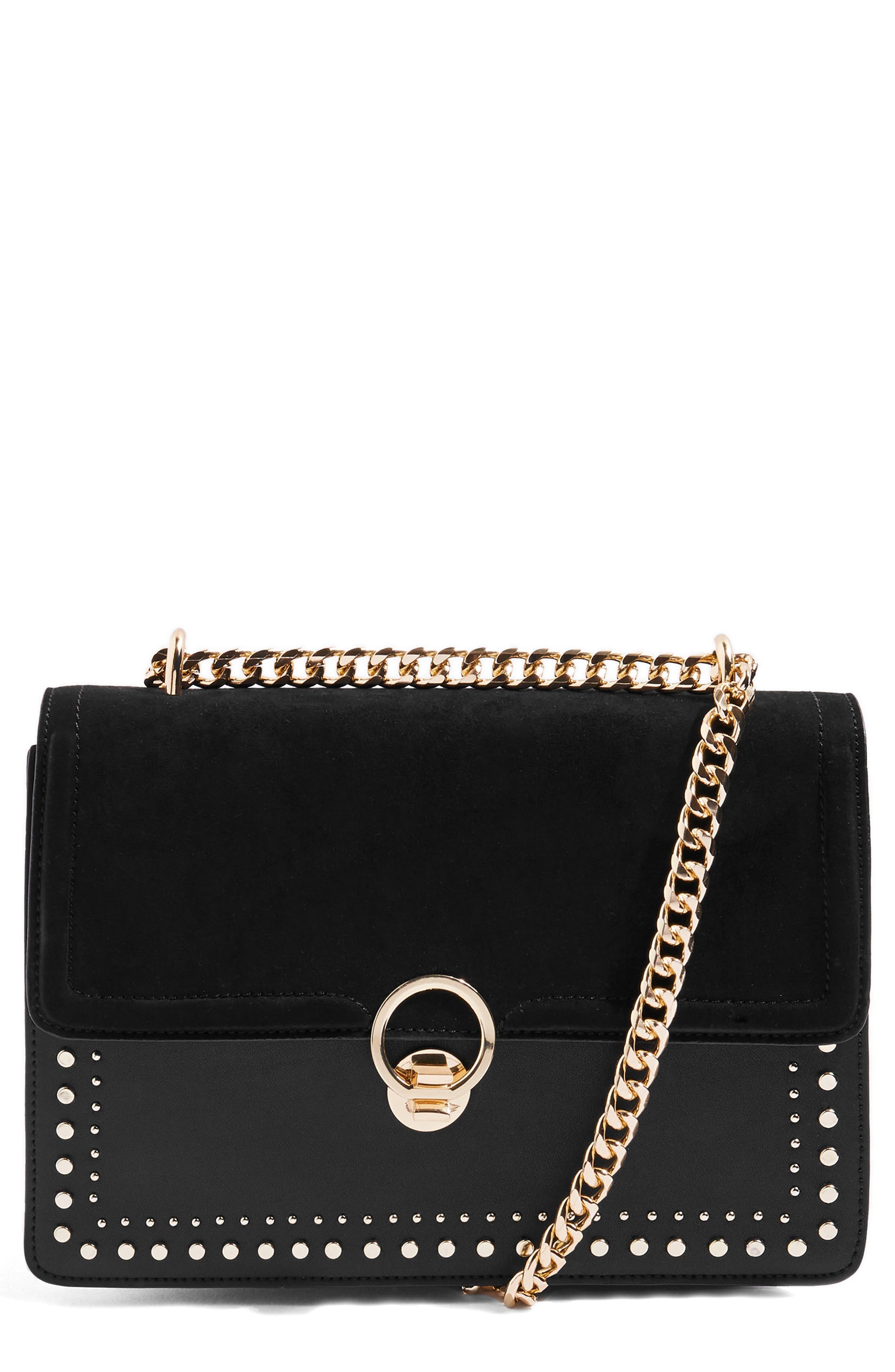 Penelope Studded Shoulder Bag,                         Main,                         color, 001