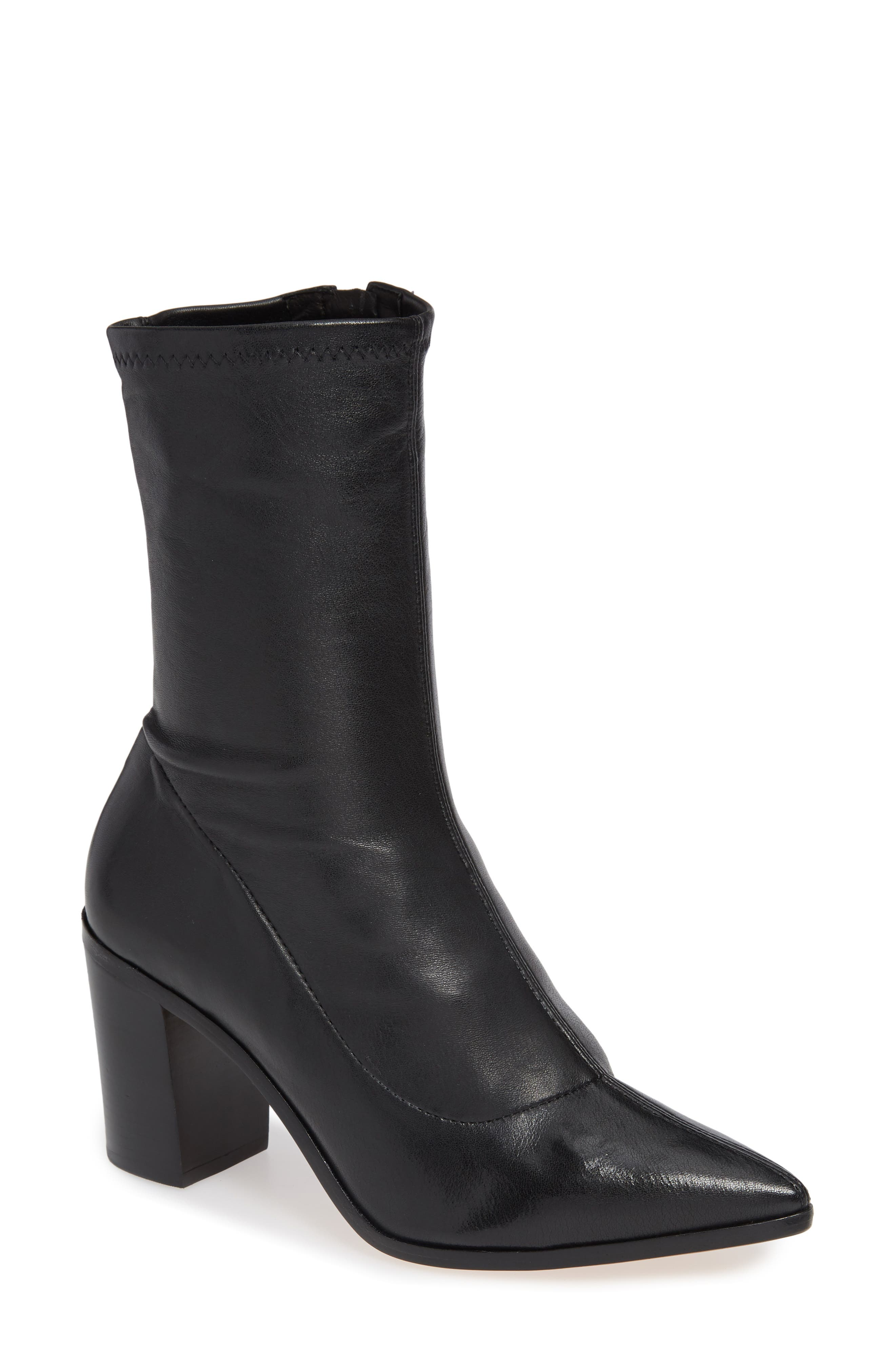 Amellie Pointy Toe Bootie,                             Main thumbnail 1, color,                             BLACK LEATHER