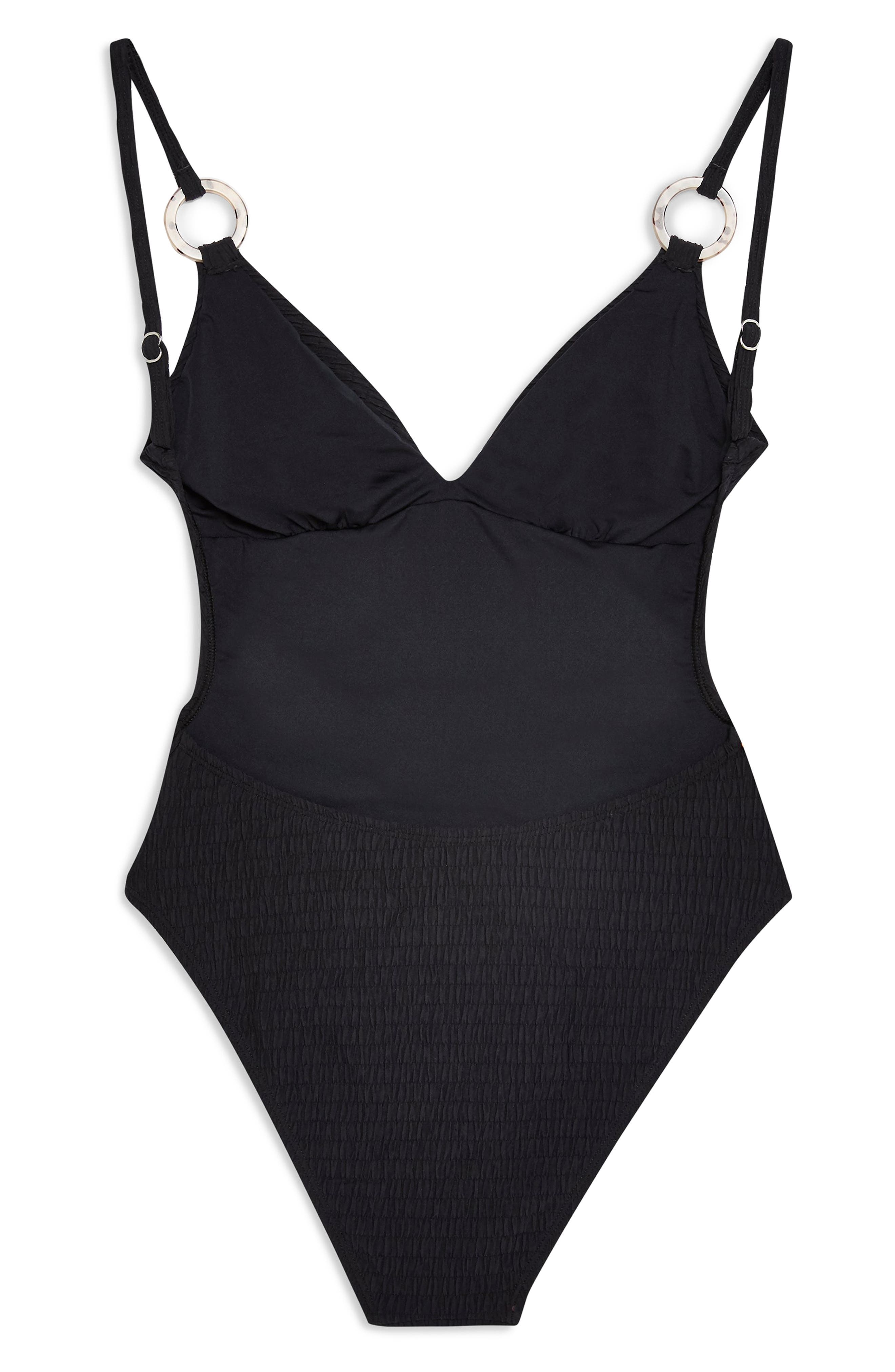 TOPSHOP,                             Plunge One-Piece Swimsuit,                             Alternate thumbnail 6, color,                             BLACK