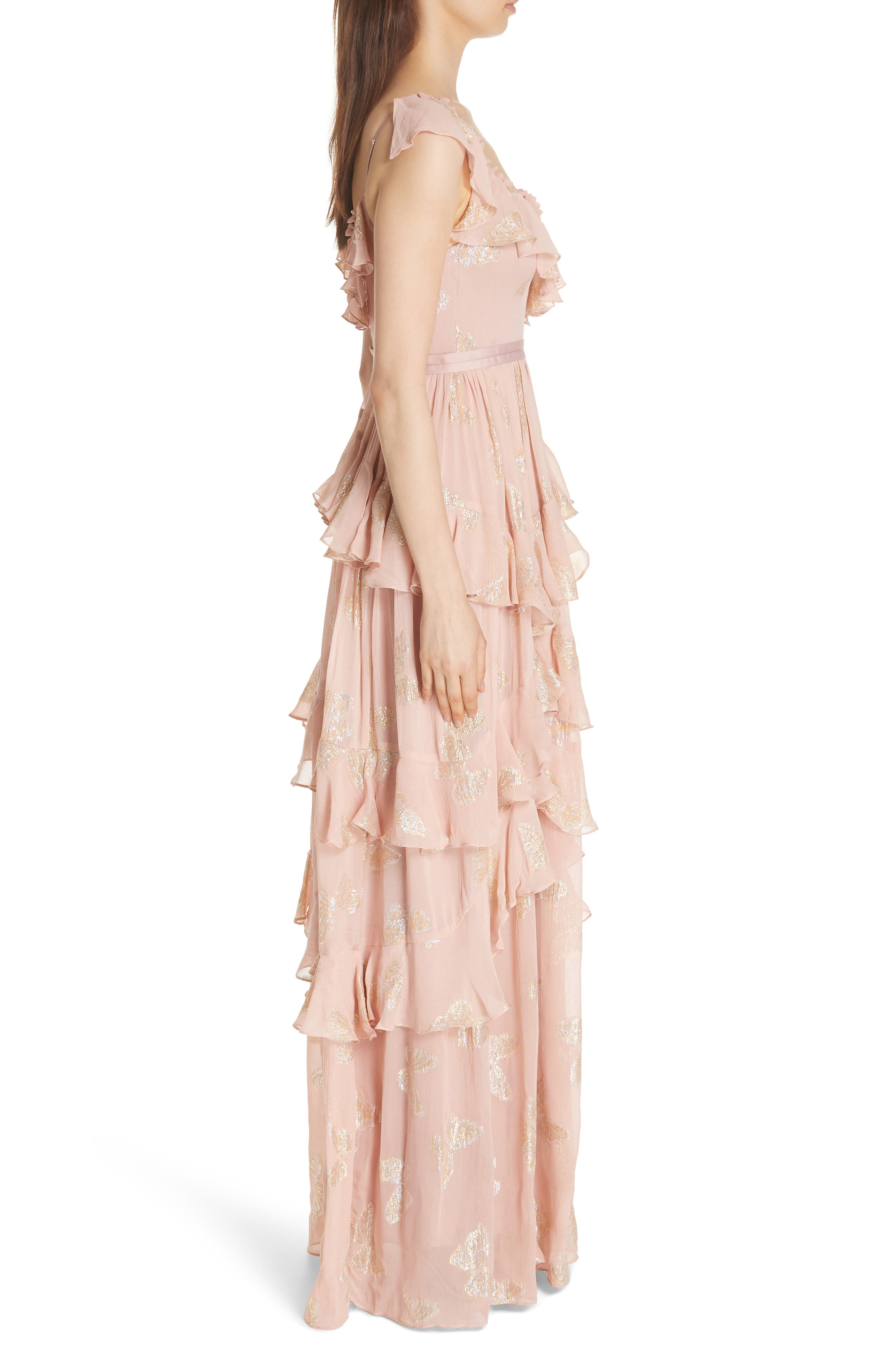 Ruffled Lurex<sup>®</sup> Butterfly Gown,                             Alternate thumbnail 3, color,                             VINTAGE ROSE