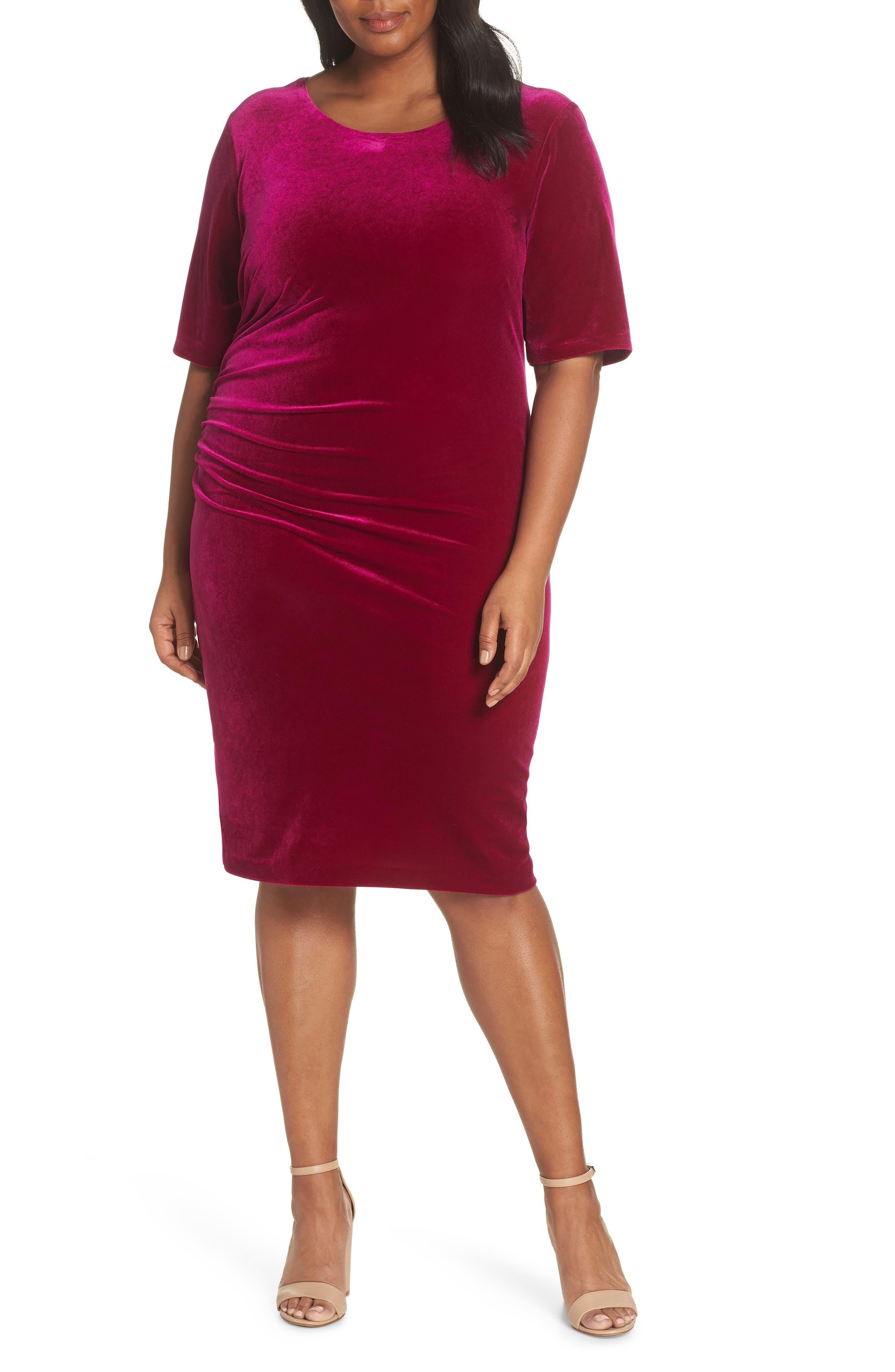 Velvet Side Ruche Body-Con Dress,                             Alternate thumbnail 6, color,                             FUSCHIA