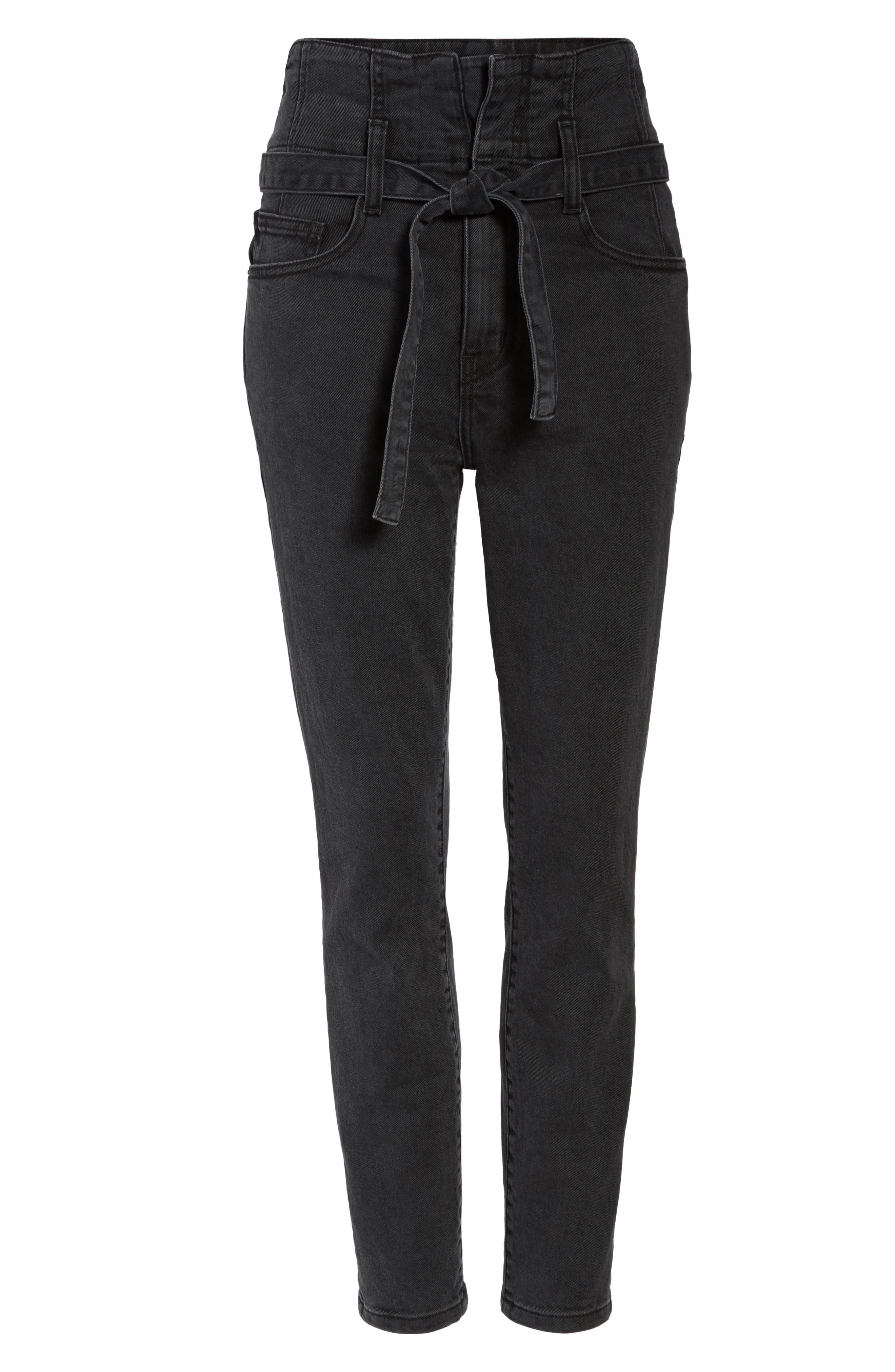 Corset Stiletto Ankle Skinny Jeans,                             Alternate thumbnail 6, color,                             004