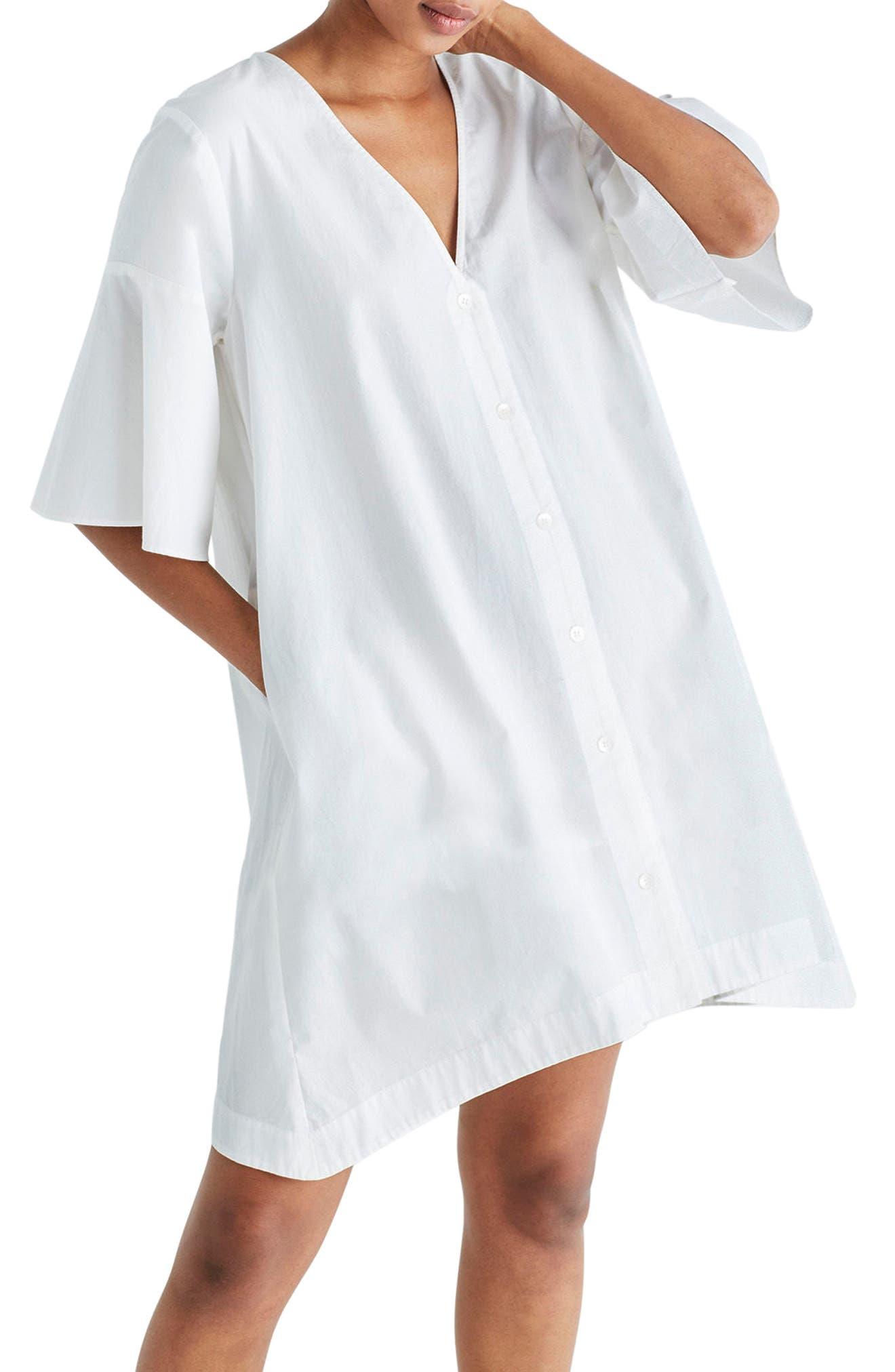 Bell Sleeve Shift Dress,                             Alternate thumbnail 6, color,                             100