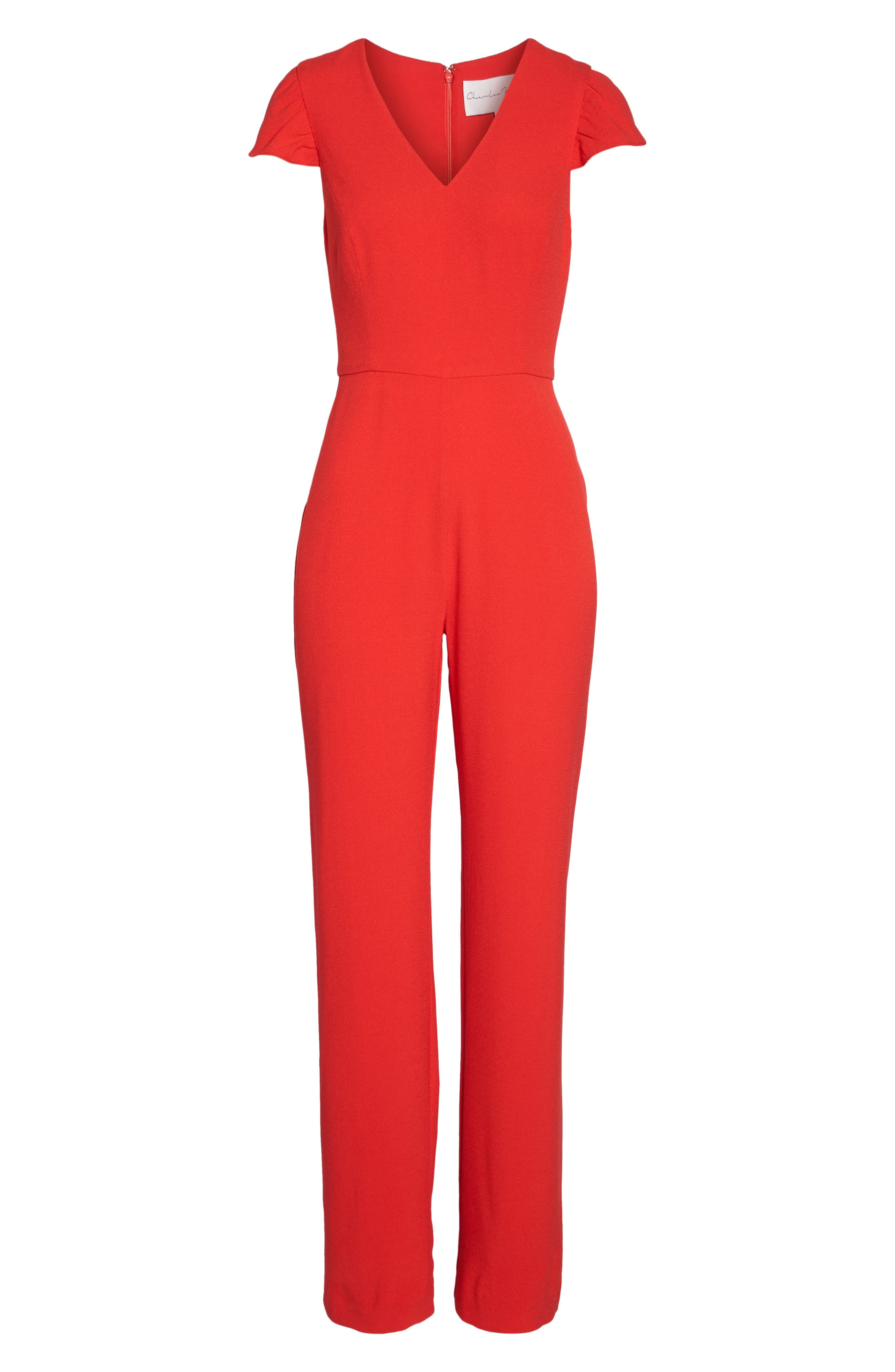 Ruffle Sleeve Jumpsuit,                             Alternate thumbnail 6, color,                             620