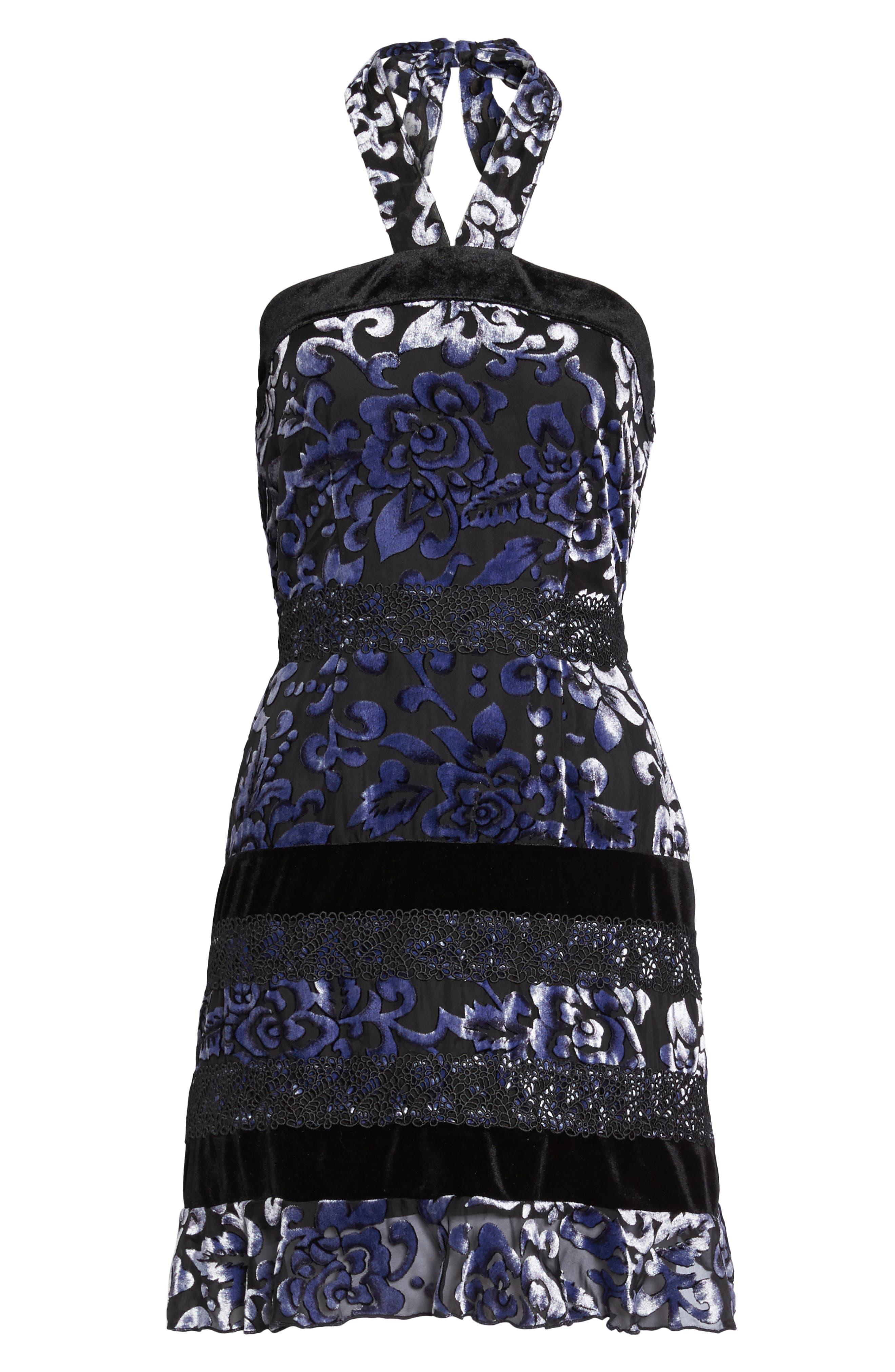 Velvet Halter Neck Fit & Flare Dress,                             Alternate thumbnail 6, color,