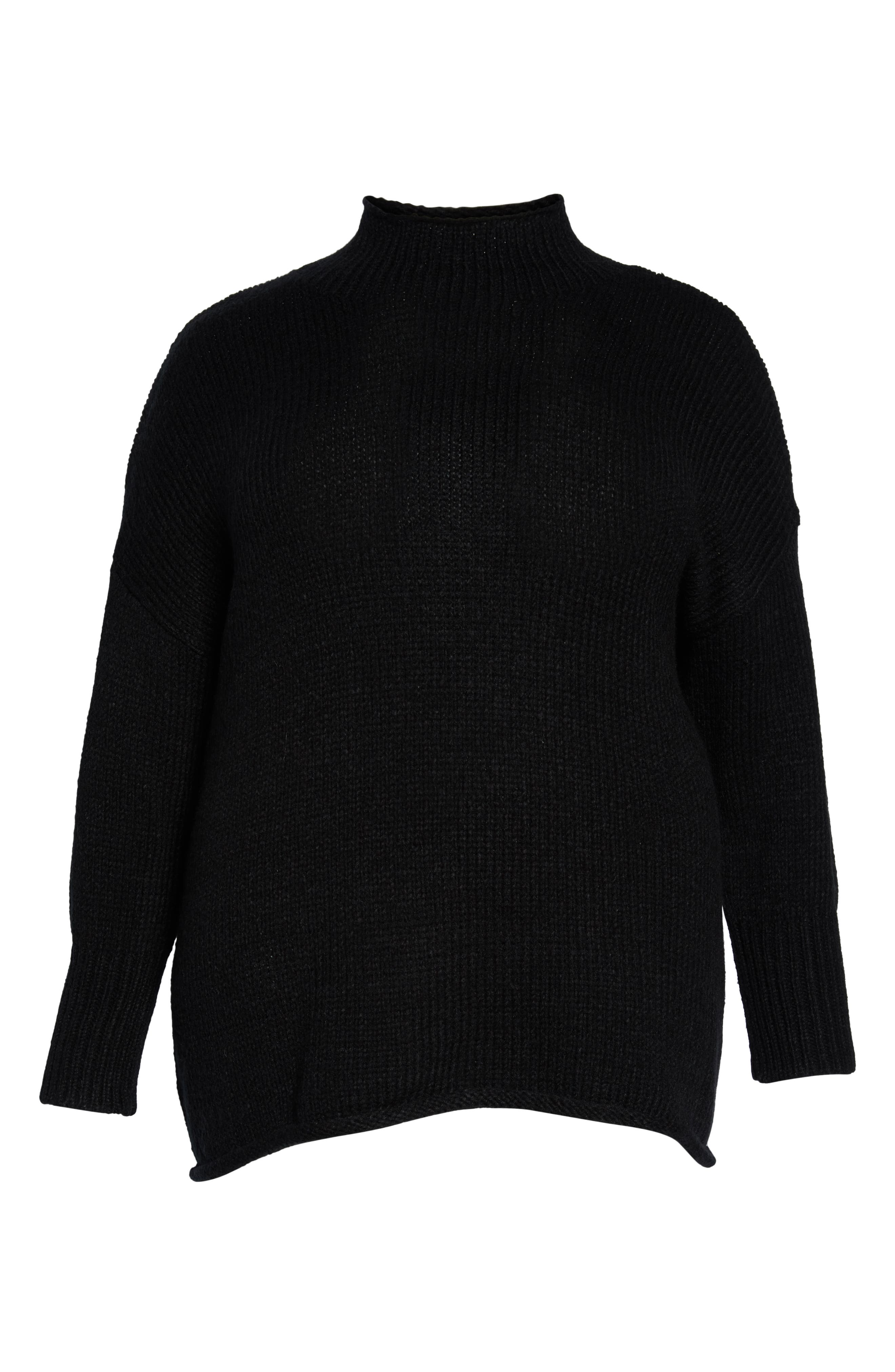 Supersized Curl Up Sweater,                             Alternate thumbnail 6, color,                             001