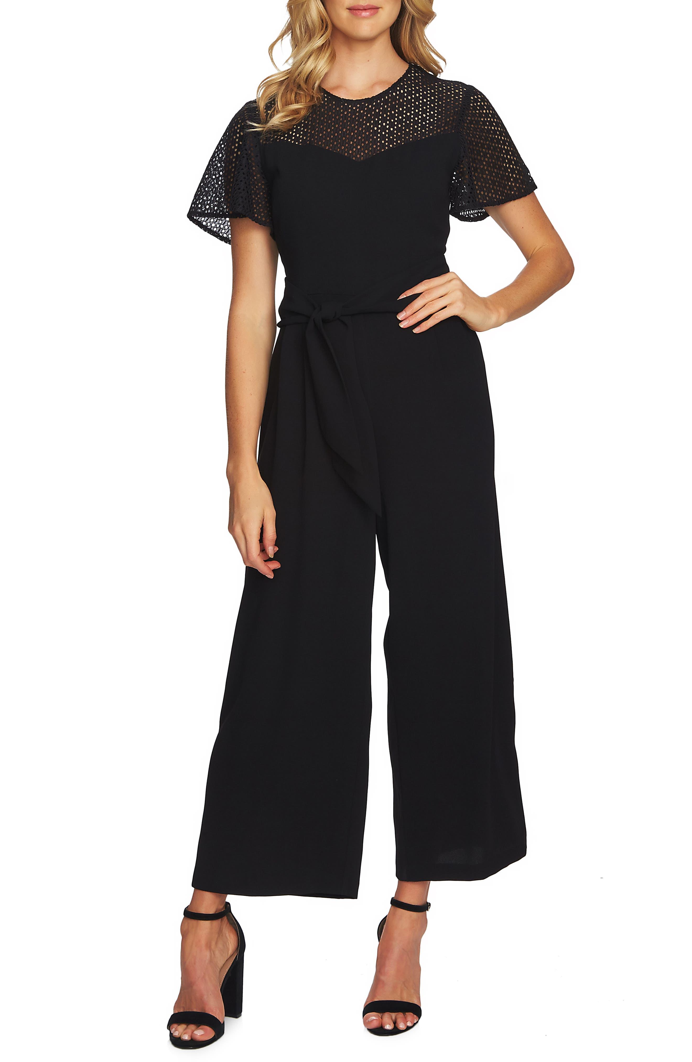 CECE,                             Mix Media Tie Waist Jumpsuit,                             Main thumbnail 1, color,                             RICH BLACK