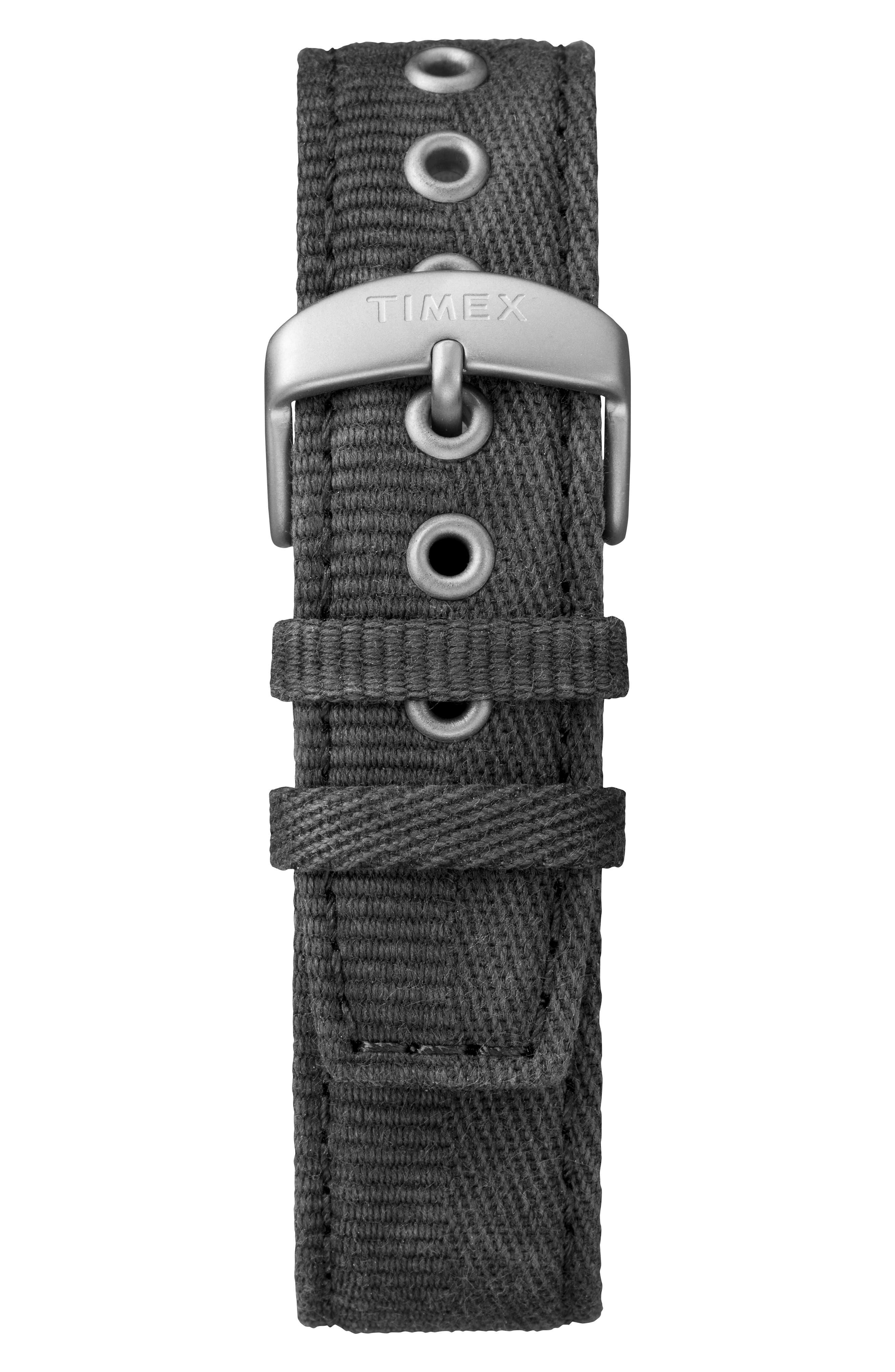 MK1 Canvas Strap Watch,                             Alternate thumbnail 2, color,                             BLACK/ WHITE/ SILVER